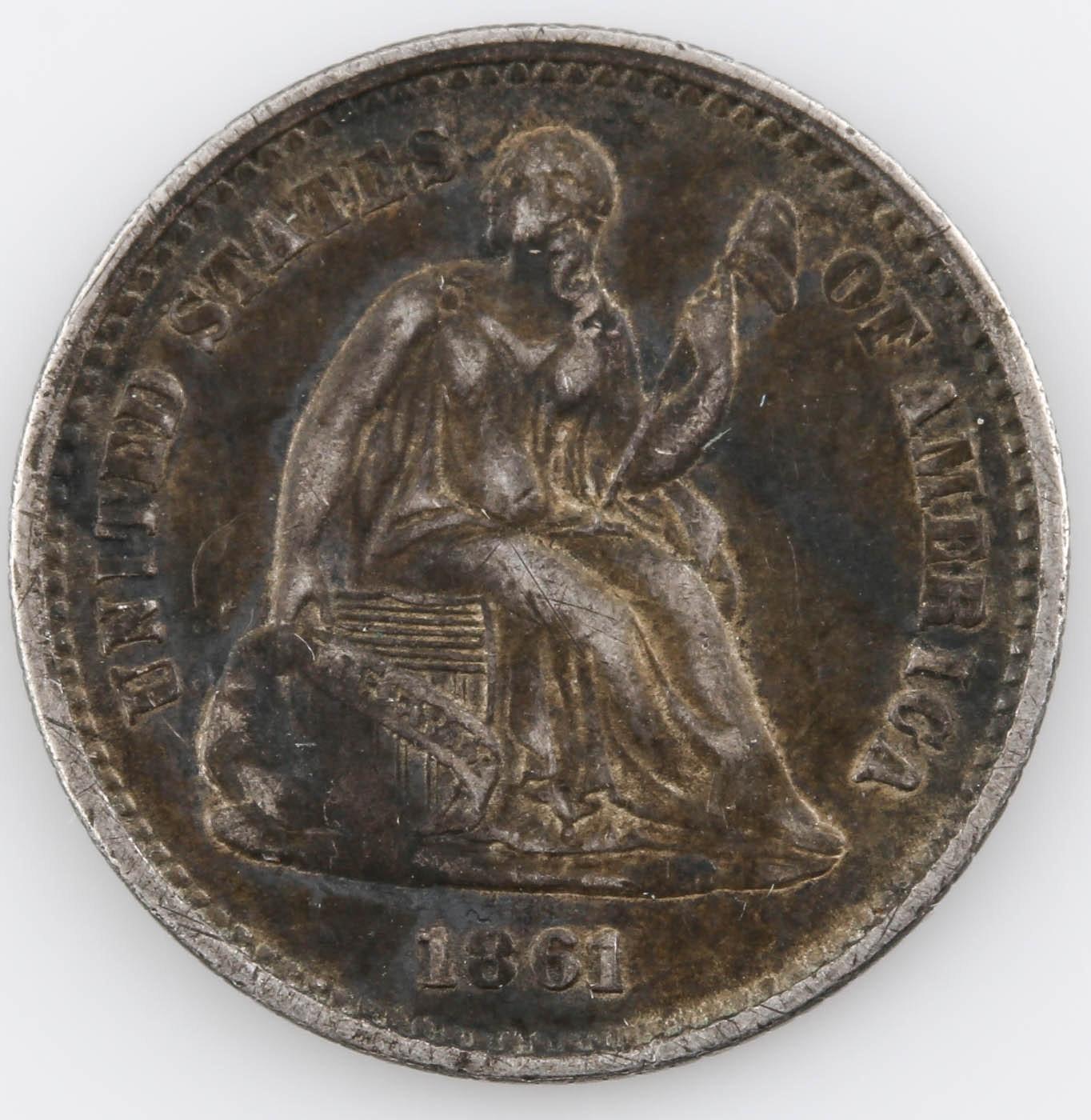 1861 Seated Liberty Silver Half Dime