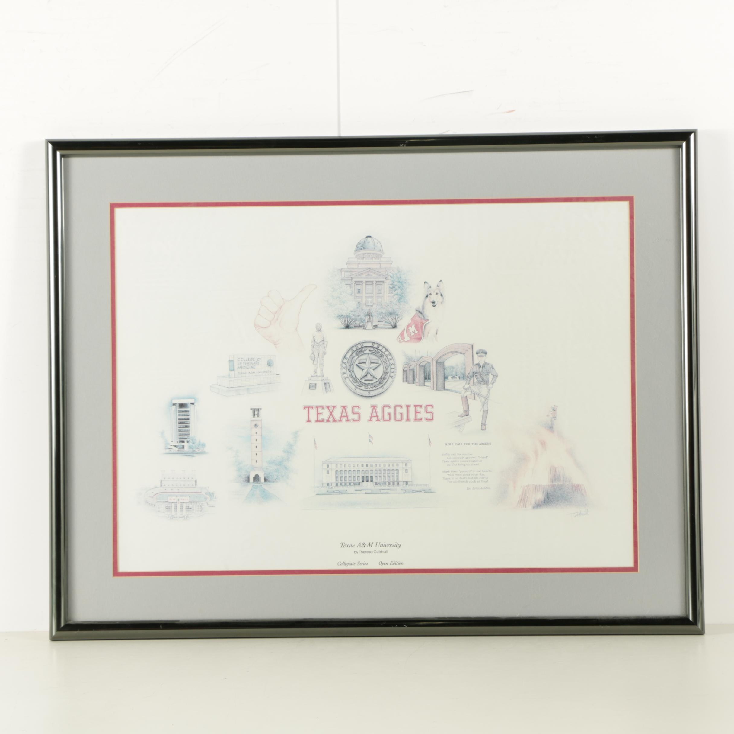 "Offset Lithograph After Theresa Cutshall ""Texas A&M University"""