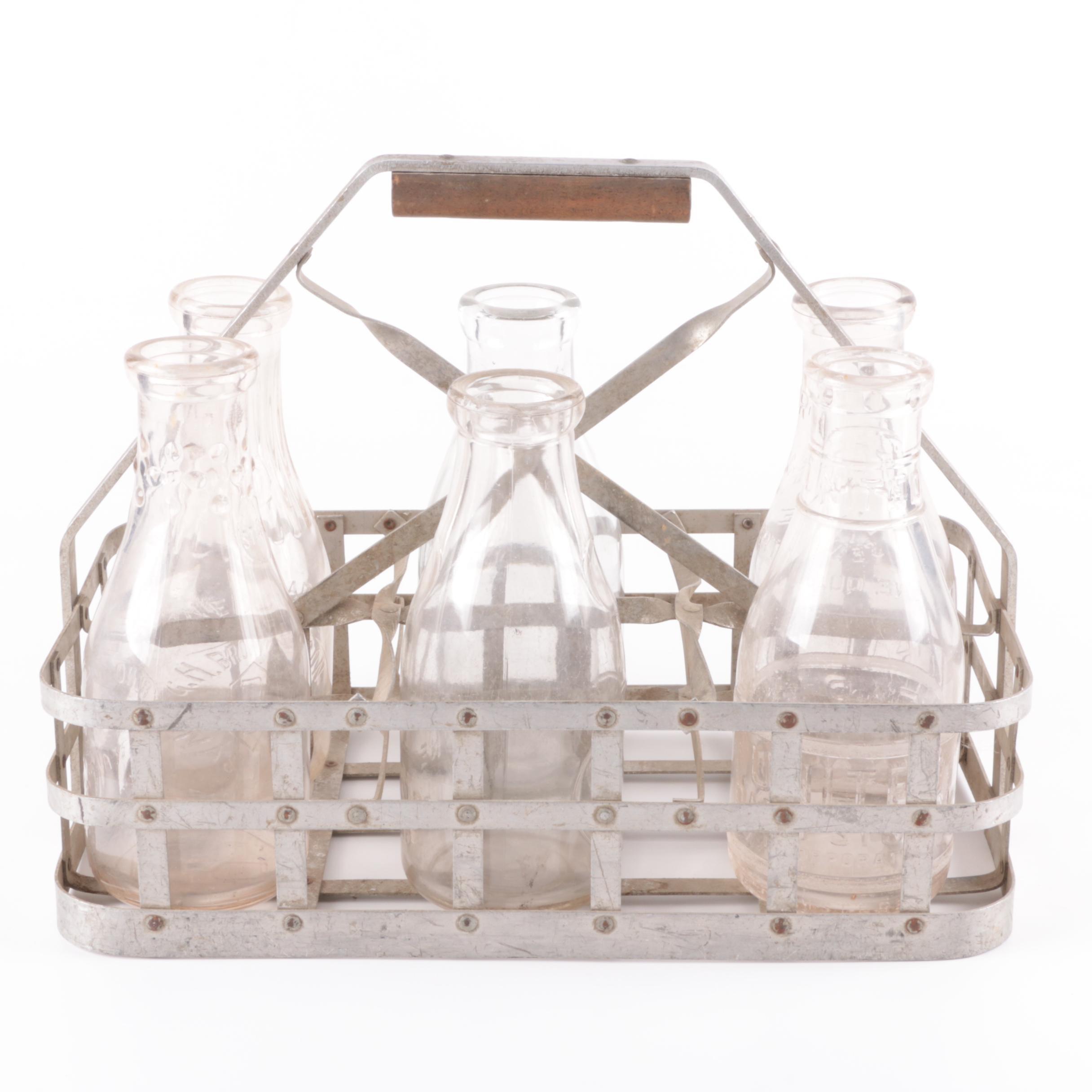 Vintage Glass Milk Bottles with Metal Carrier