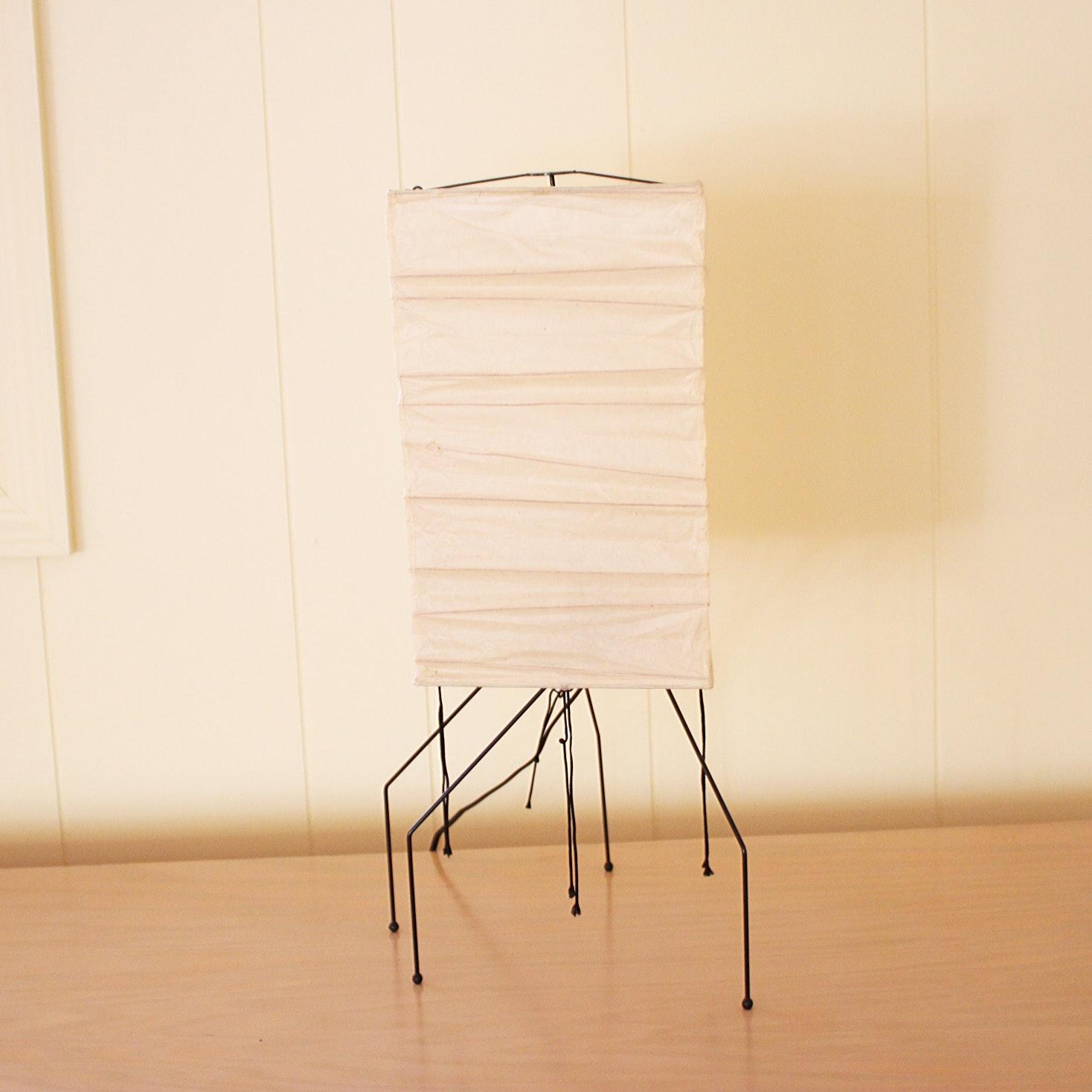 Vintage Mid Century Modern Isamu Noguchi Washi Paper Table Lamp