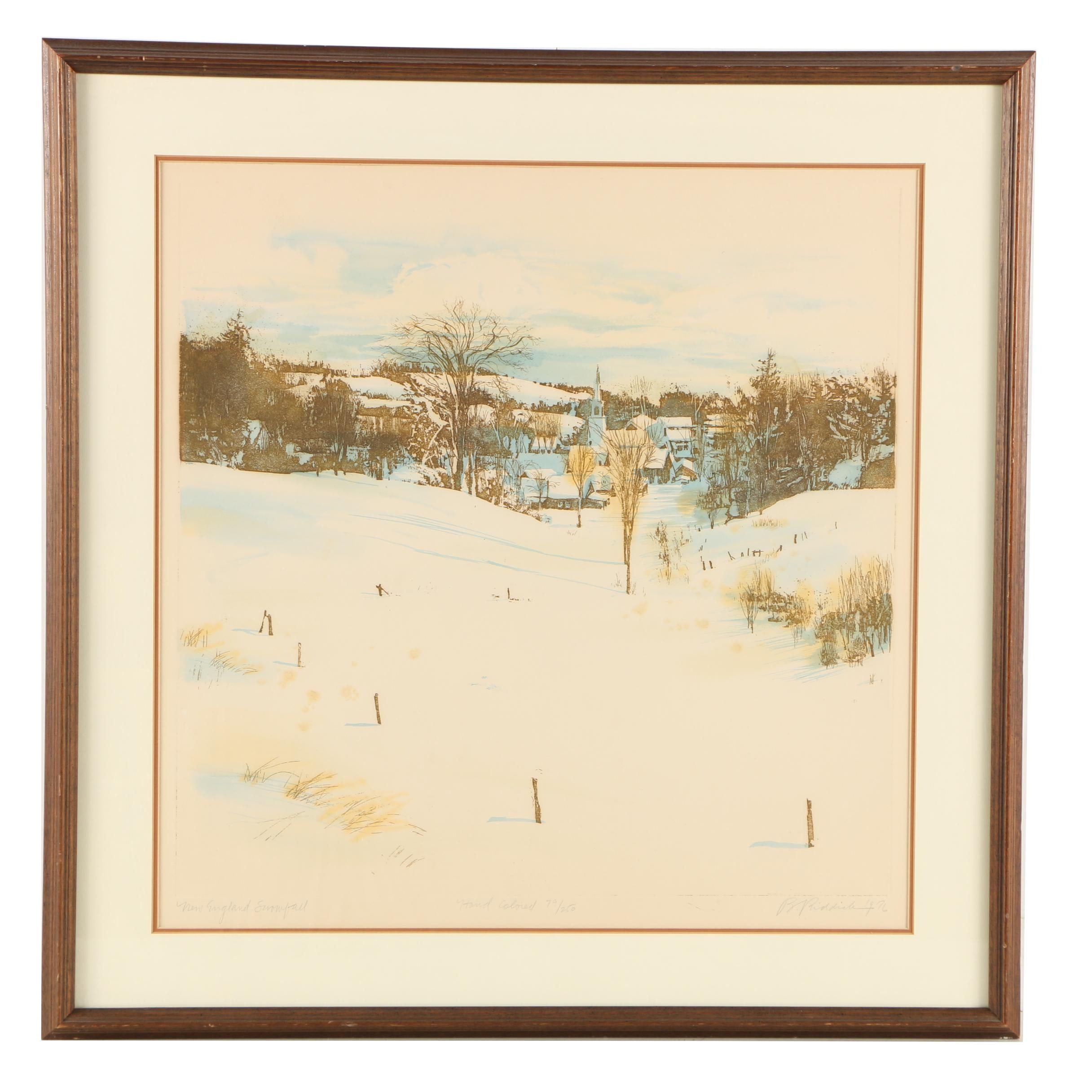 "B. Riddick Hand Colored Etching ""New England Snowfall"""