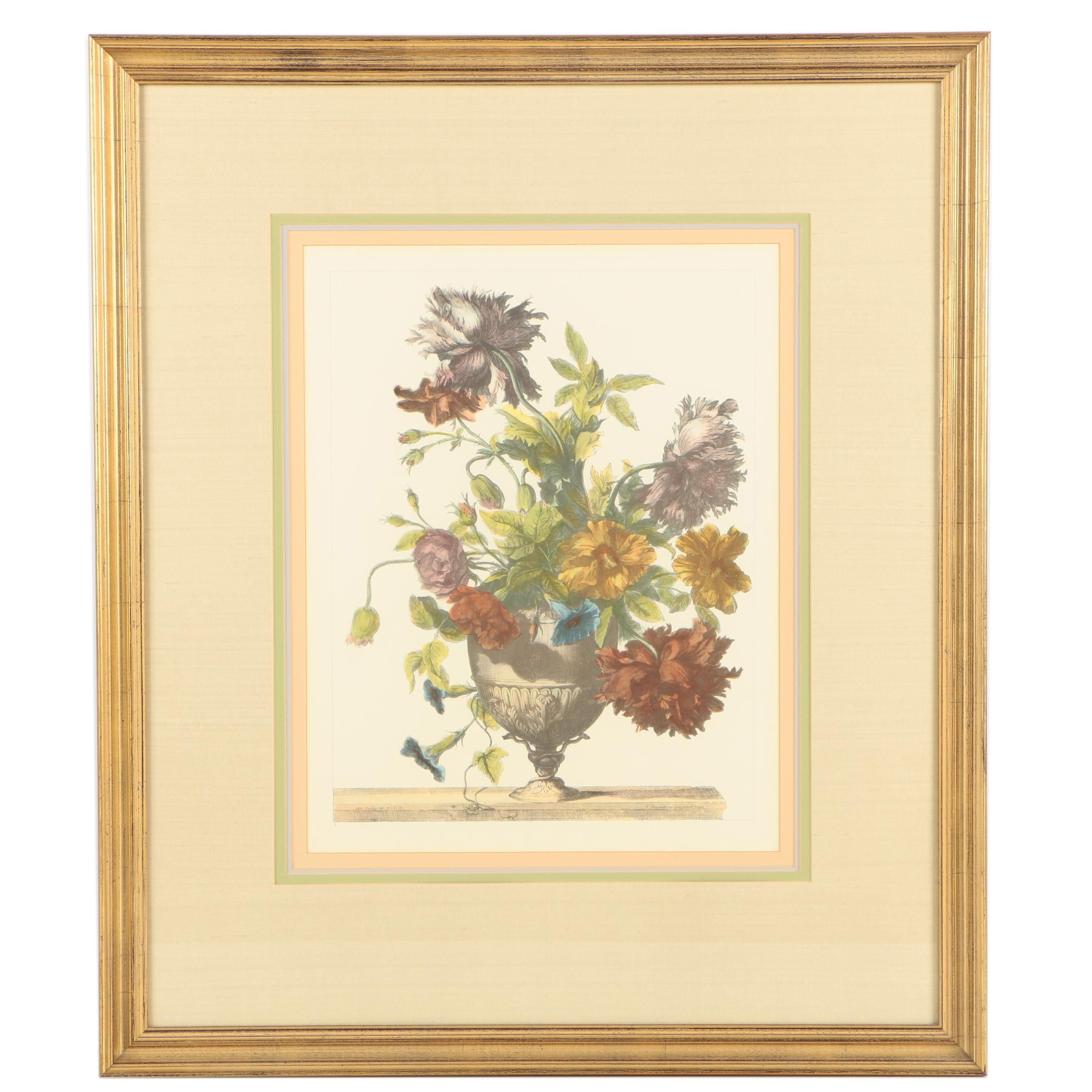 Hand Colored Offset Lithograph After Jean-Baptiste Monnoyer's Floral Still Life