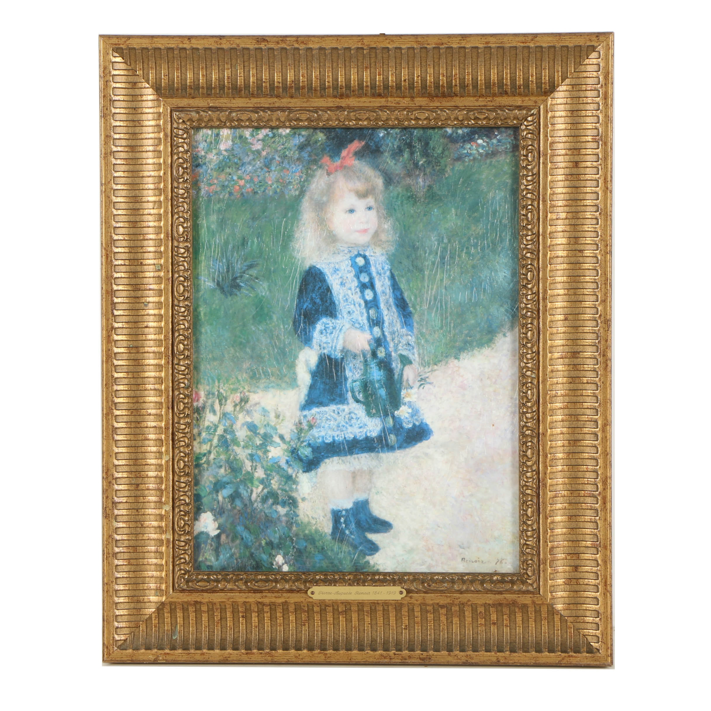 """A Girl with a Watering Can"" Offset Lithograph after Renoir"