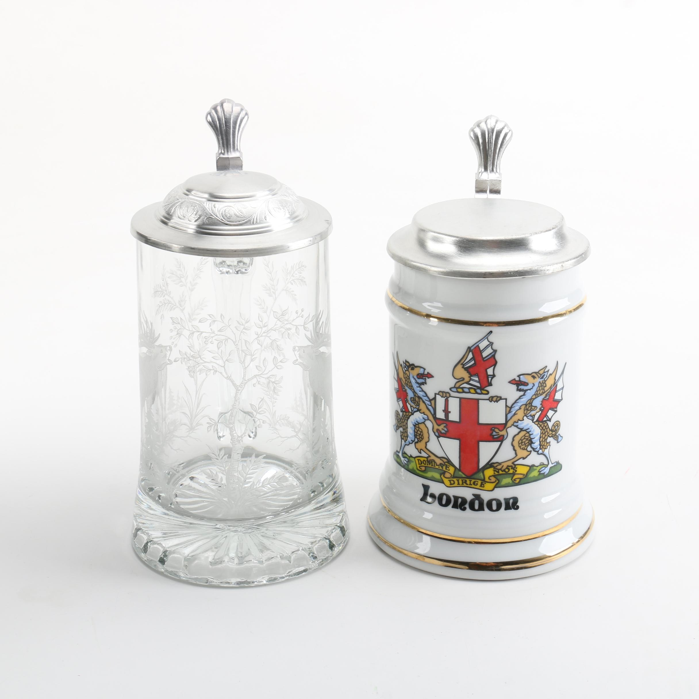 Glass and Porcelain Beer Steins