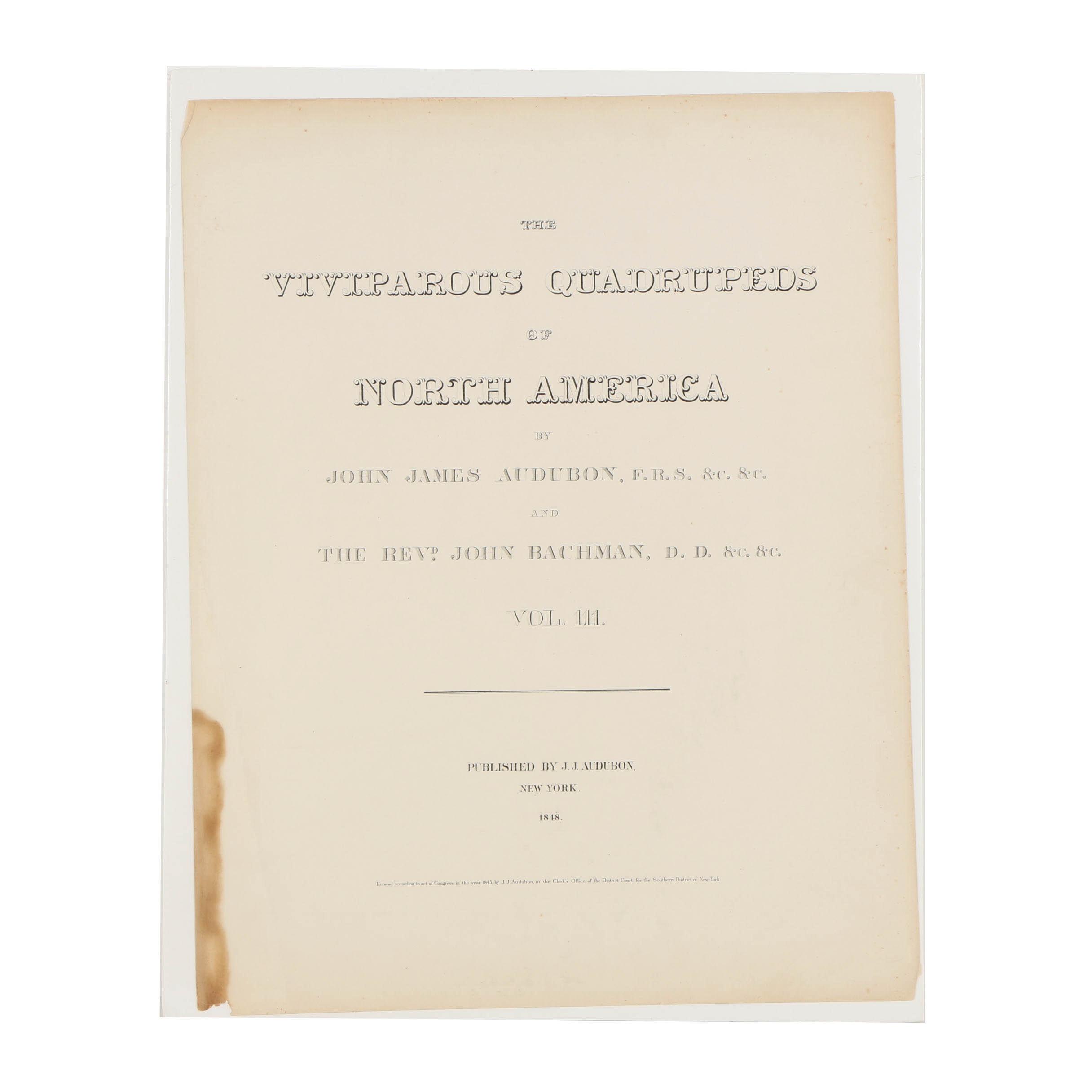 "Folio Cover for 1848 Publication of John James Audubon's ""Various Quadrupeds"""