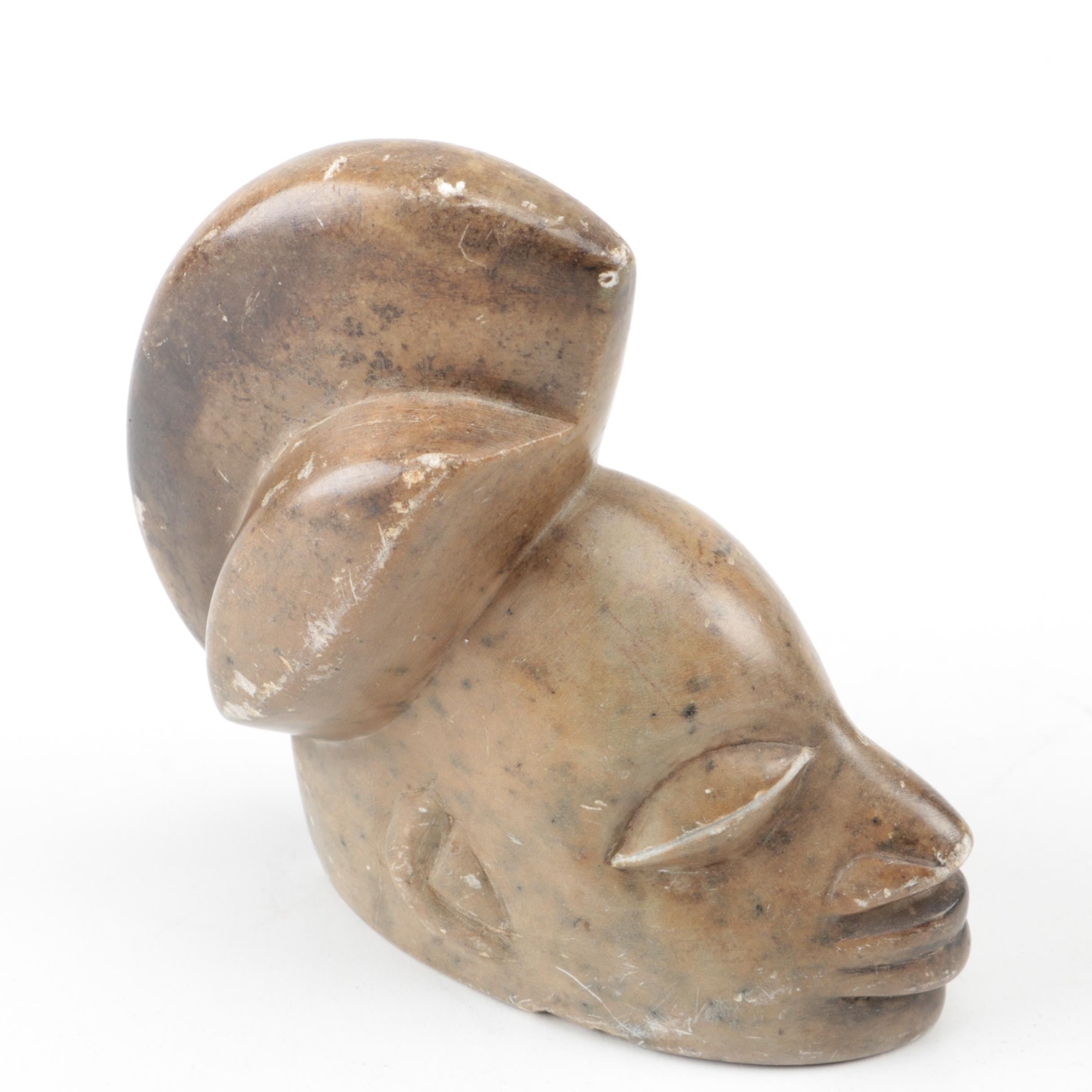 Punu Style Carved Soapstone Figurine of a Head