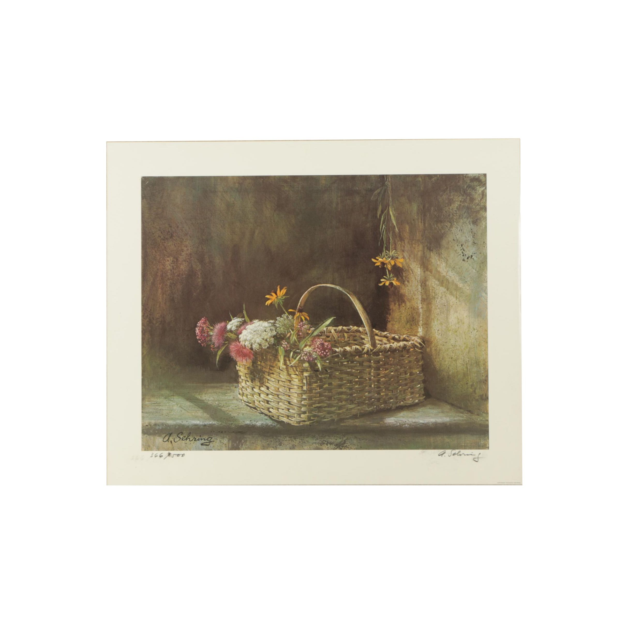 Adolf Sehring Limited Edition Reproduction Print of a Basket with Flowers