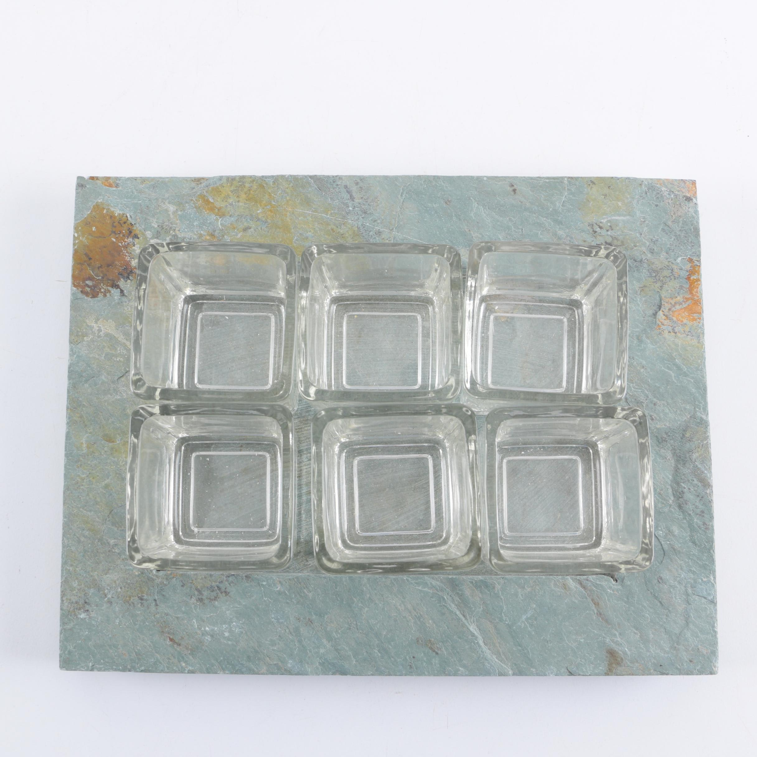 Square Glass Candle Holders and Grey Stone Tray