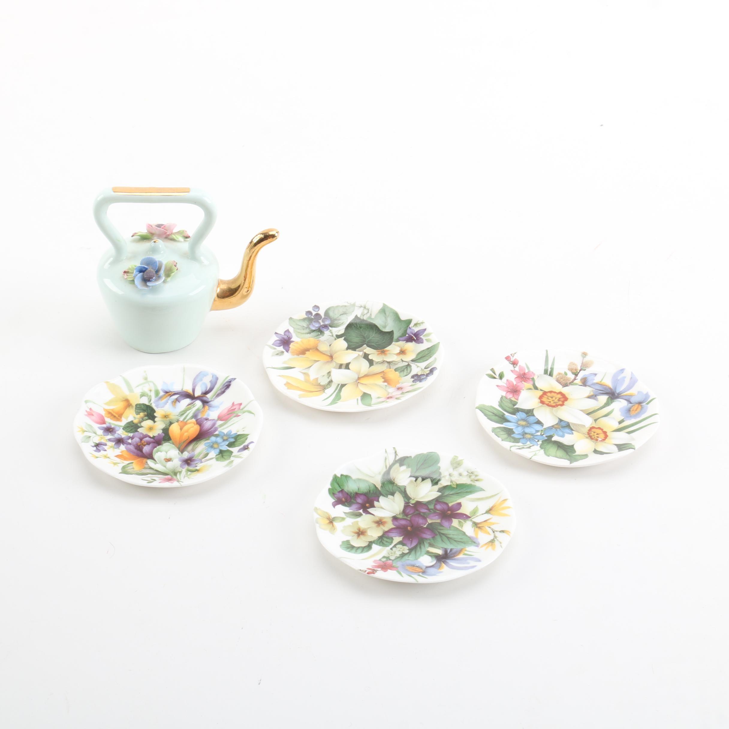 Floral Motif Porcelain Tea Pot and Dishes