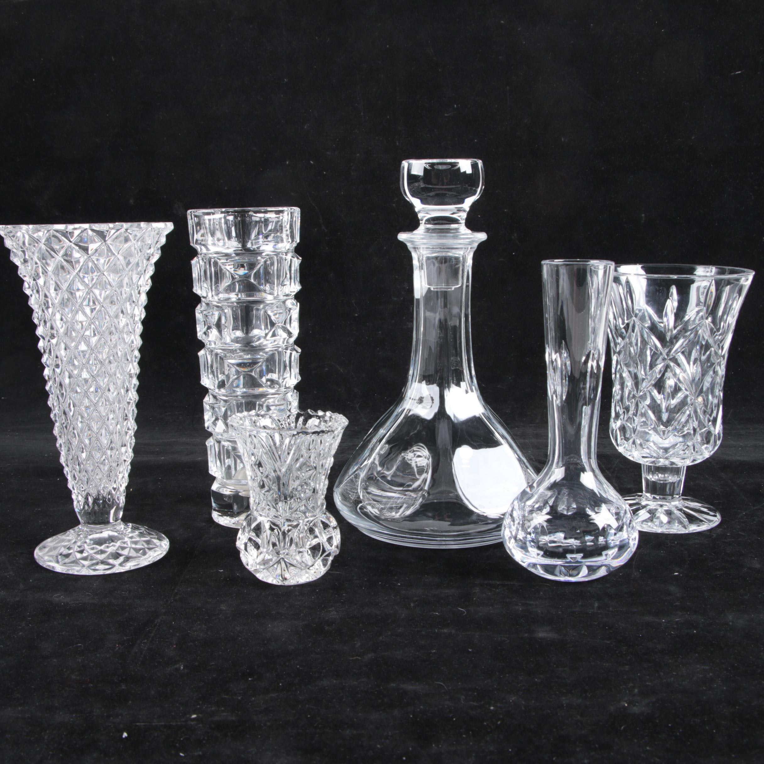 Crystal Vases and Decanter