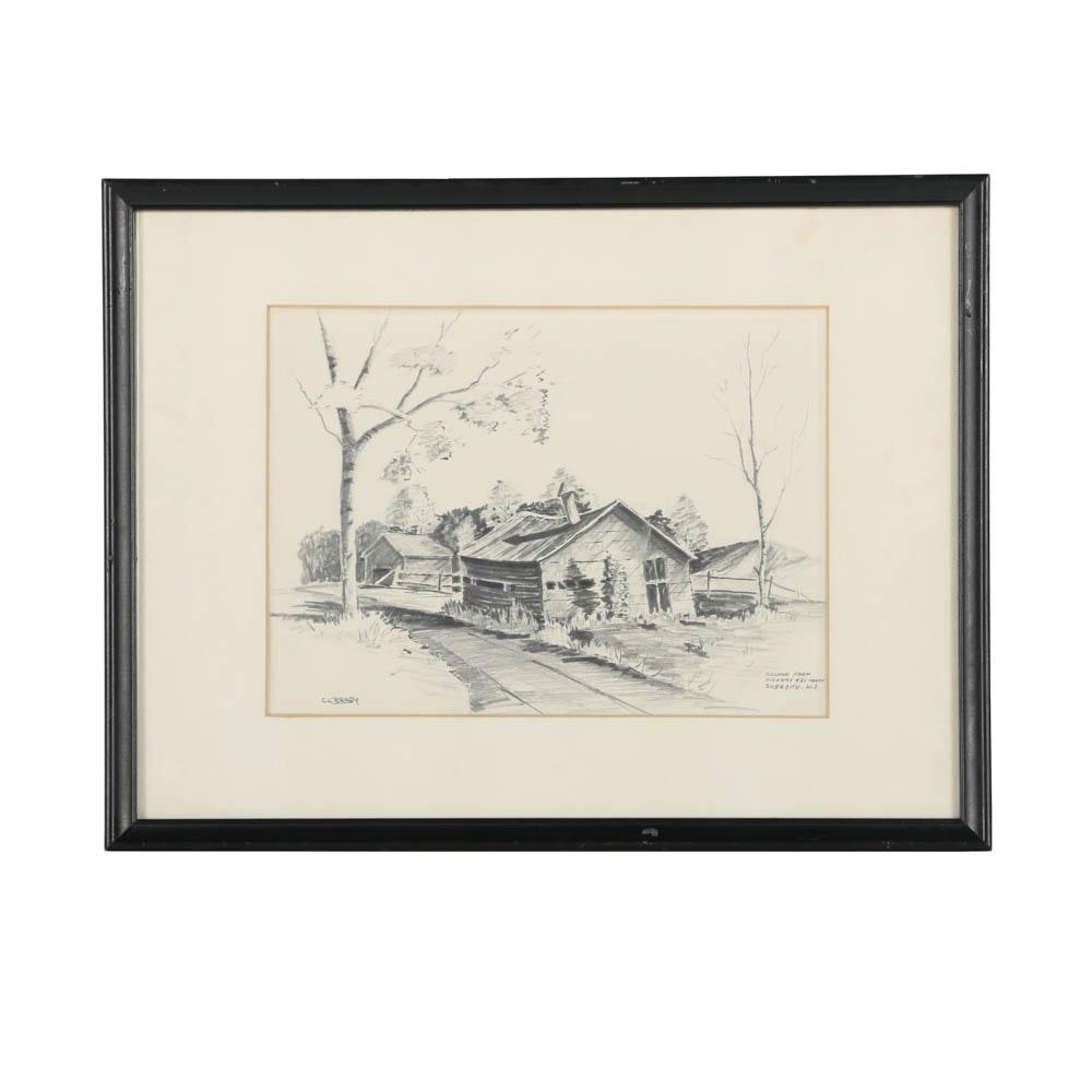 "C.L. Brady Graphite Drawing on Paper ""Gilland Farm"""