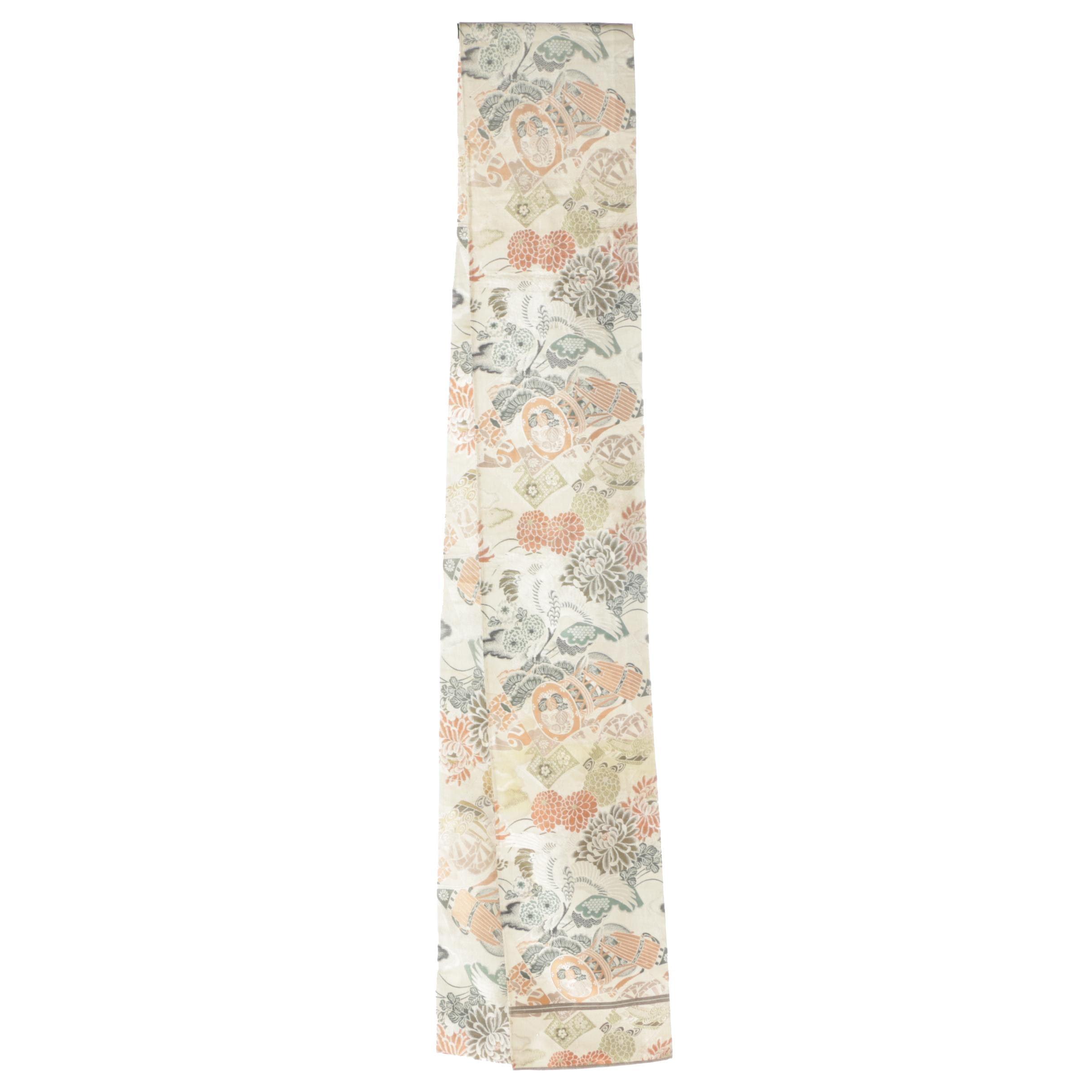 Circa 1900 Antique Japanese Silk Brocade Maru Obi