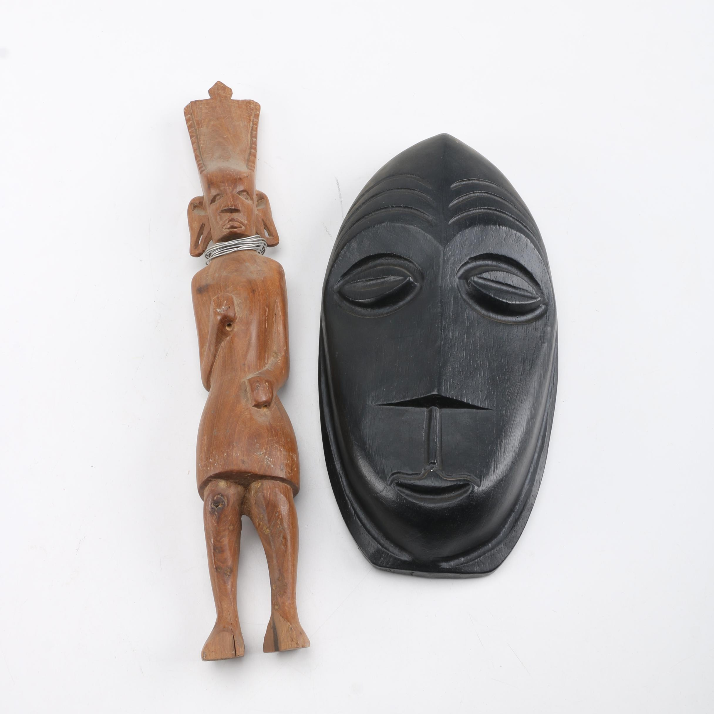 Carved Wood Sculpture and Mask