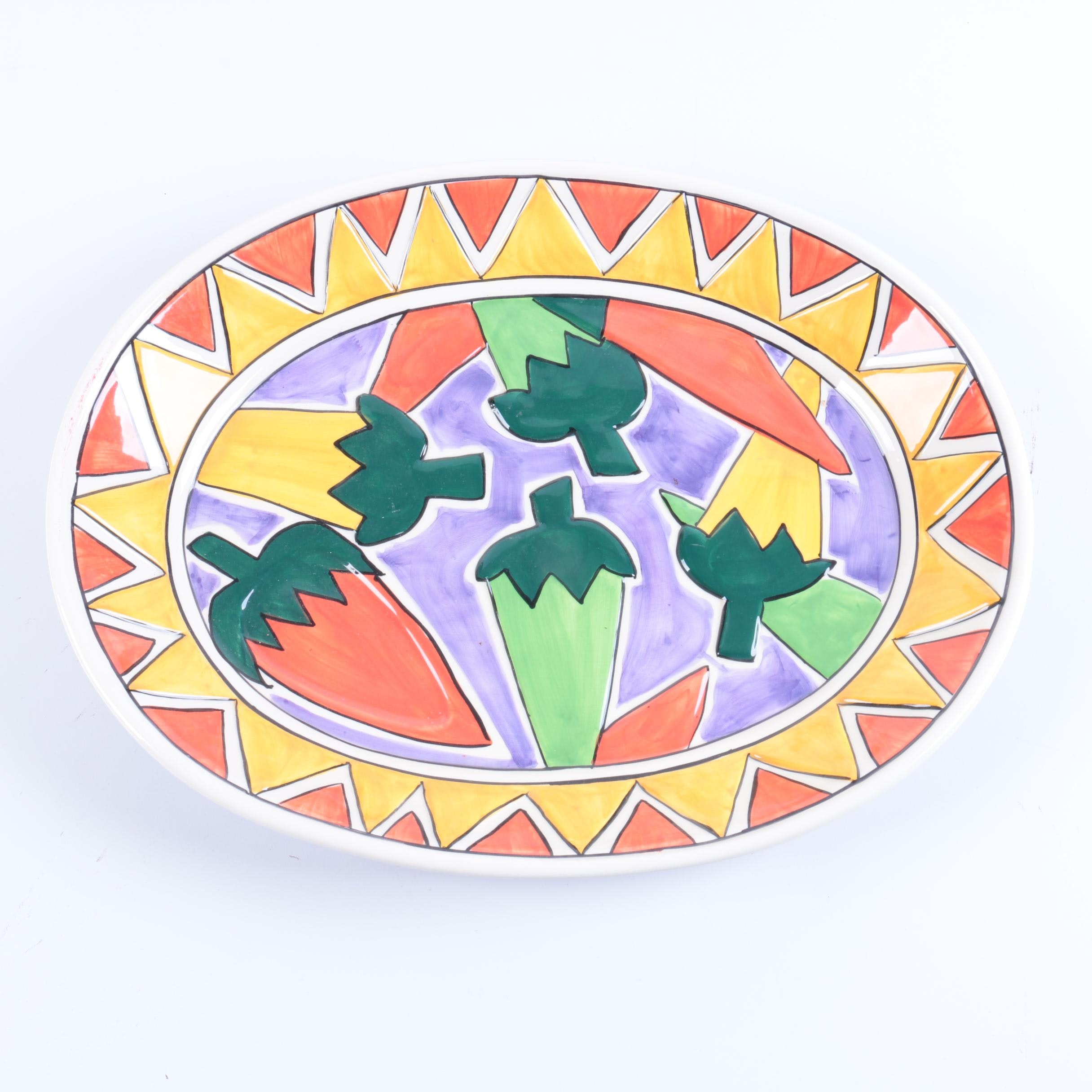 "Clay Art ""Sizzling Chilis"" Hand-Painted Platter"