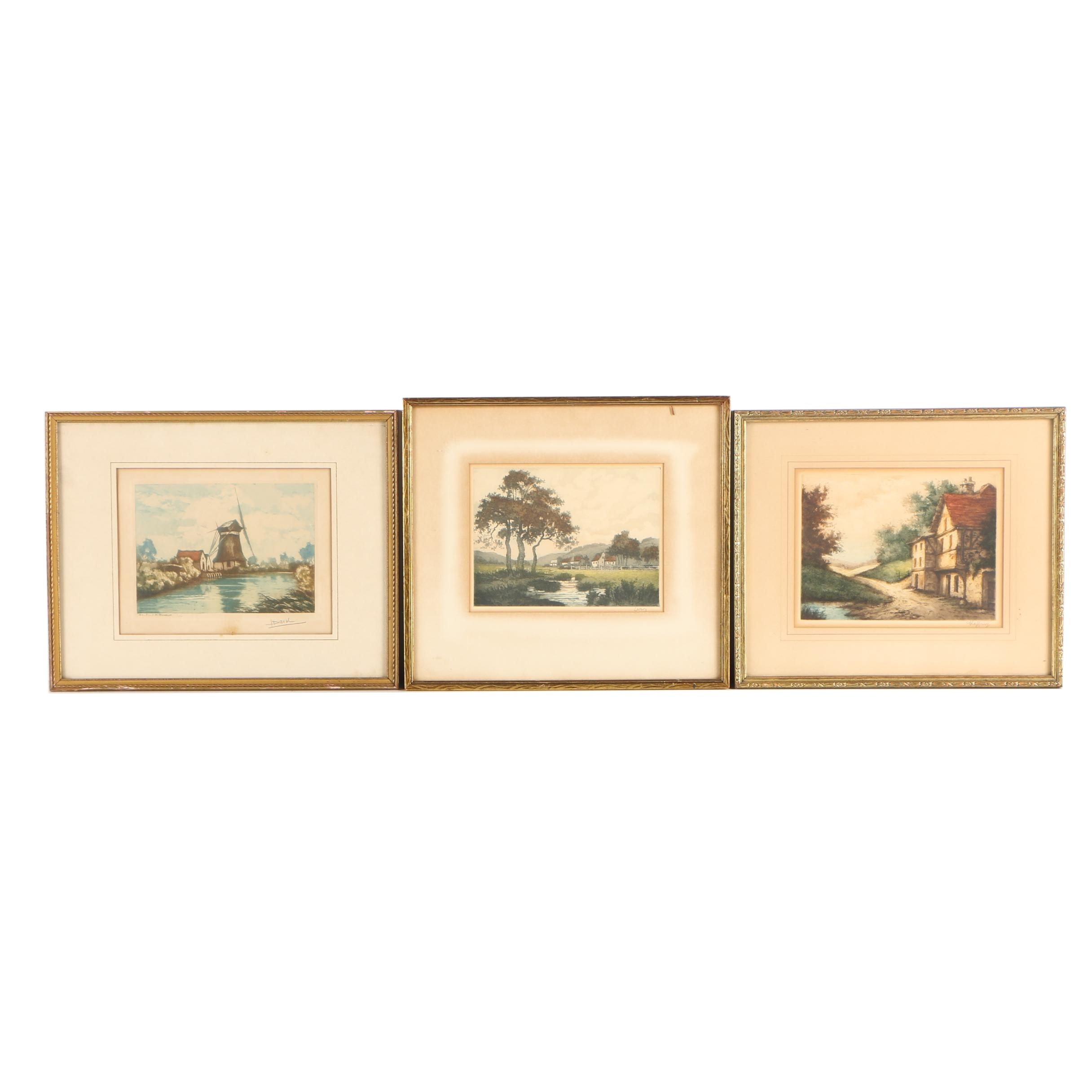 Color Etchings on Paper of Dutch Villages