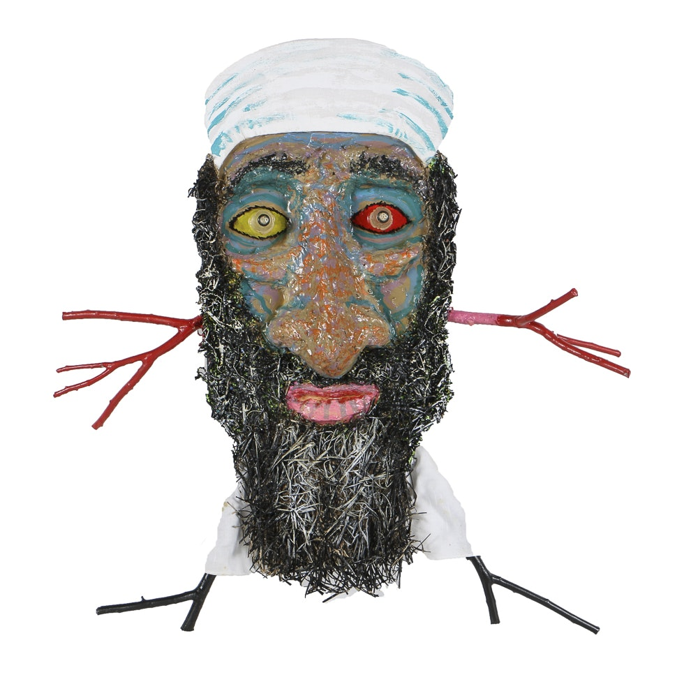 "Frank Kowing Mixed Media Wall Sculpture ""Obama Got Osama"""