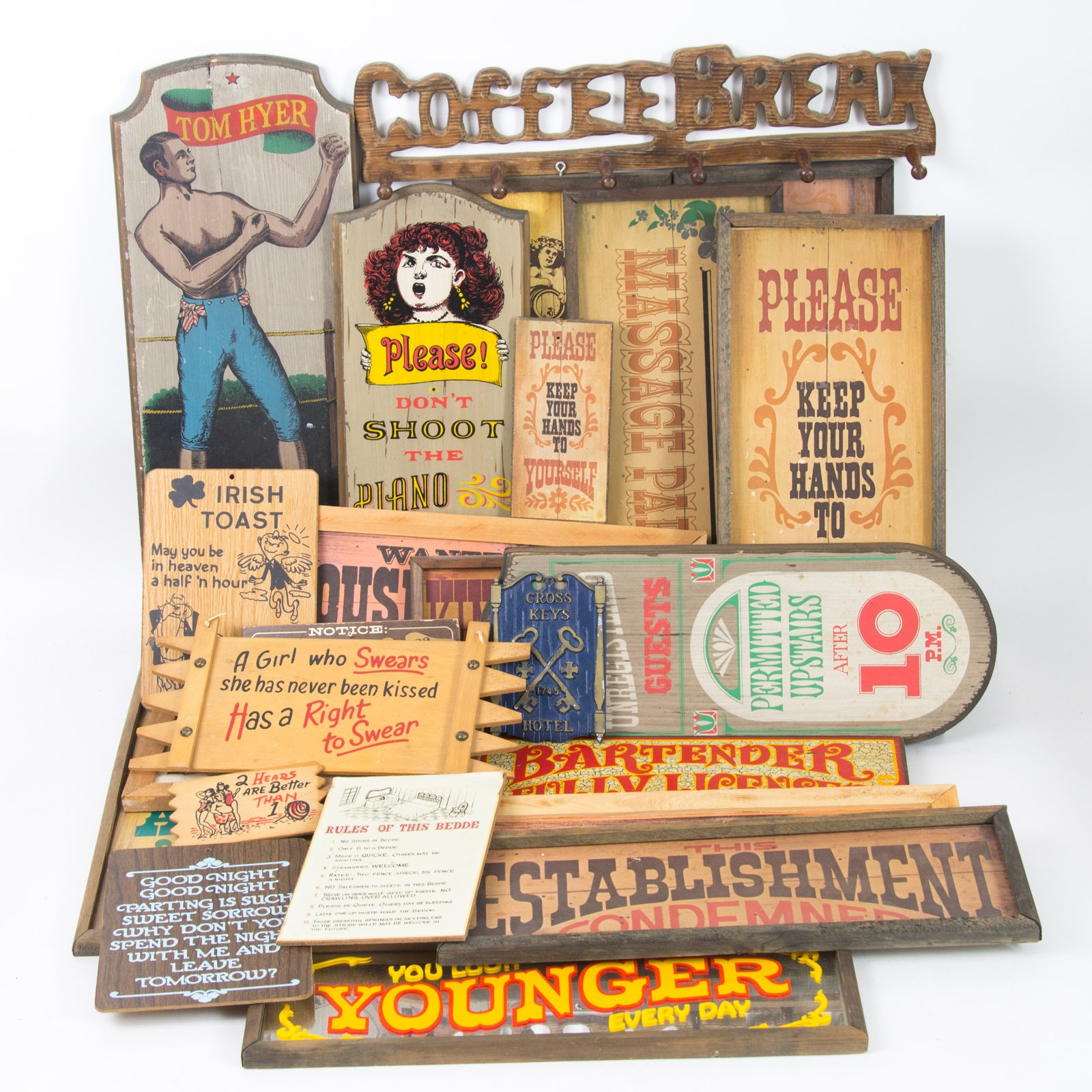 Large Collection of Kitschy Vintage Signs and Plaques