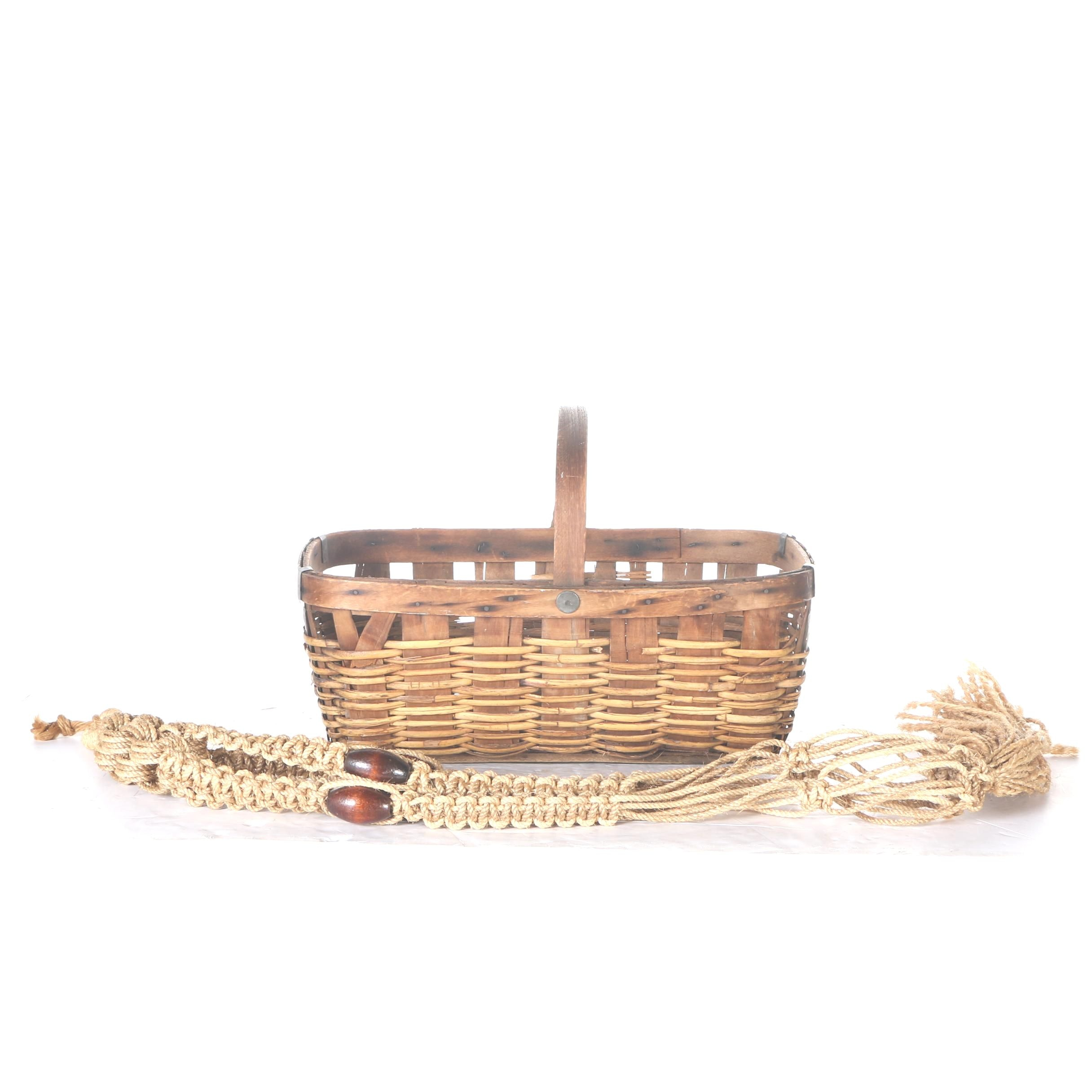 Woven Basket and Jute Plant Holder