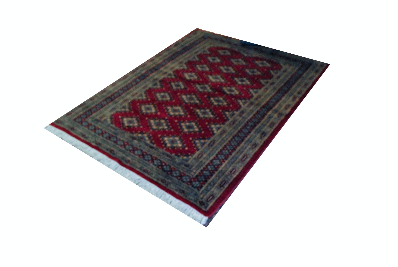 Hand-Knotted Pakistani Bokhara-Style Wool Area Rug