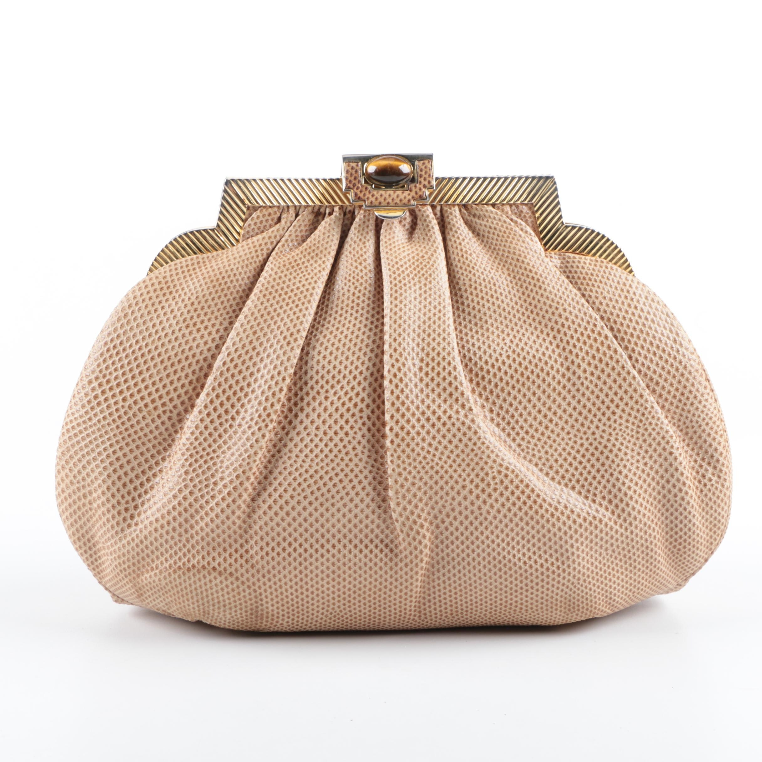 Judith Leiber Tan Lizard Evening Bag