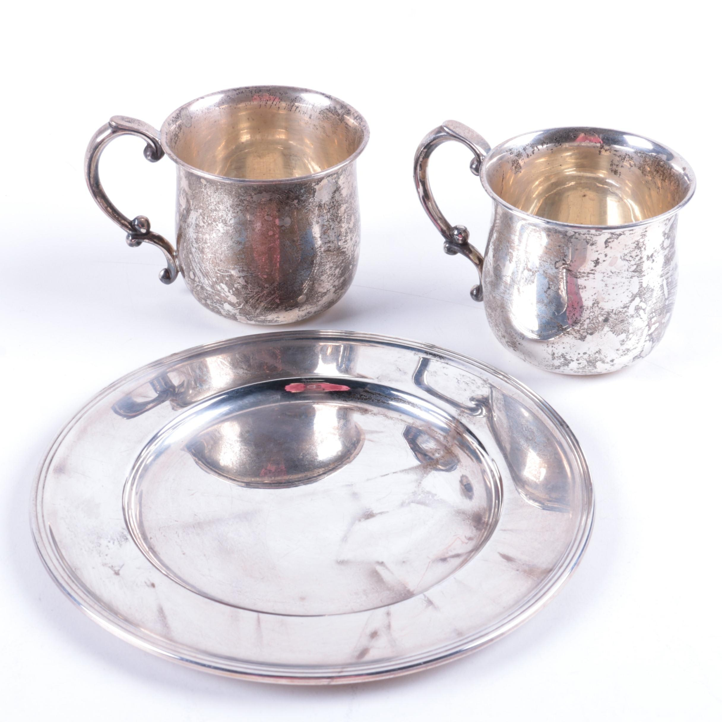 Victor Seidman Sterling Silver Sandwich Plate with Valerio Scroll Handle Mugs