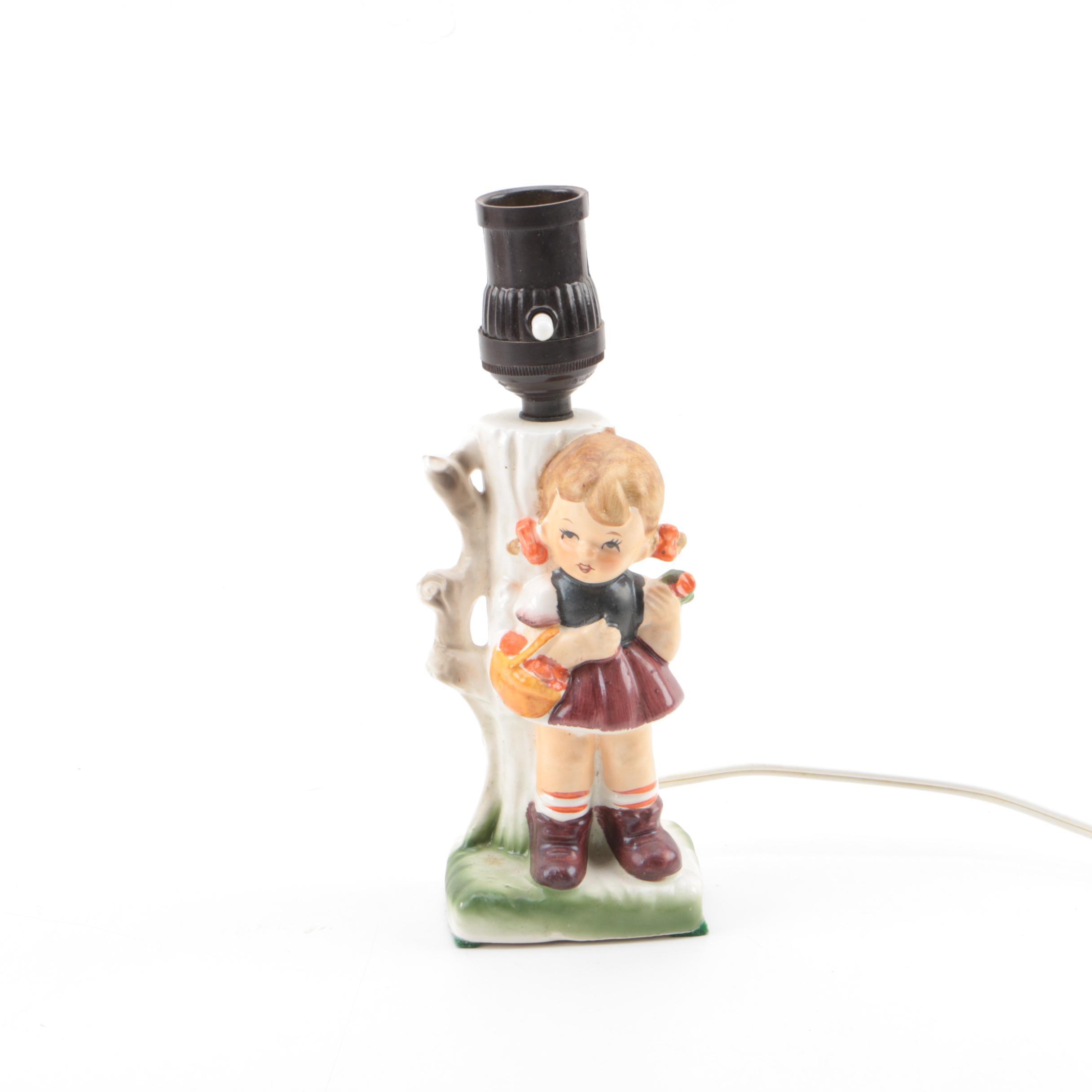 Vintage Figural Ceramic Hummel-Style Table Lamp