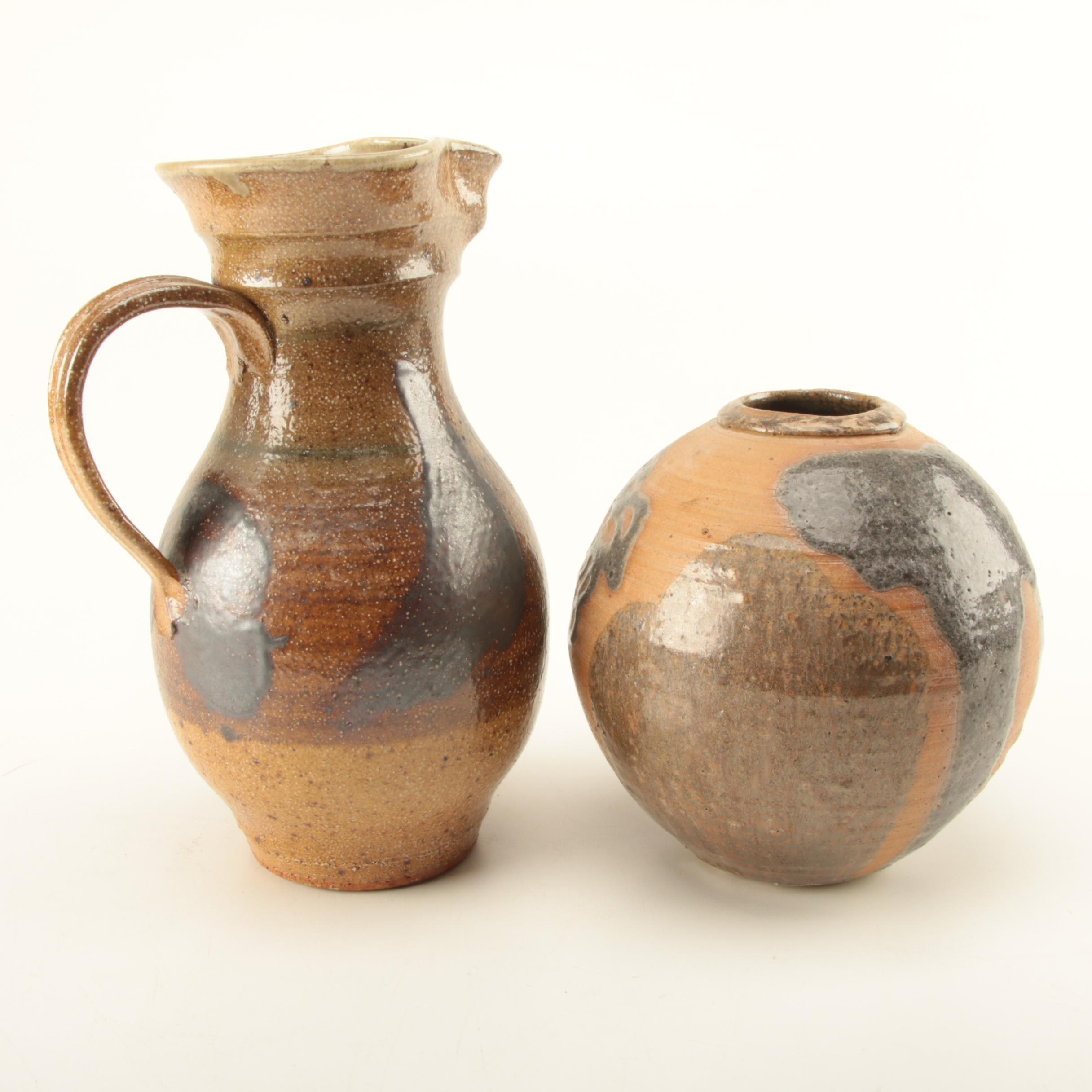 Hand Thrown Stoneware Pitcher and Vase