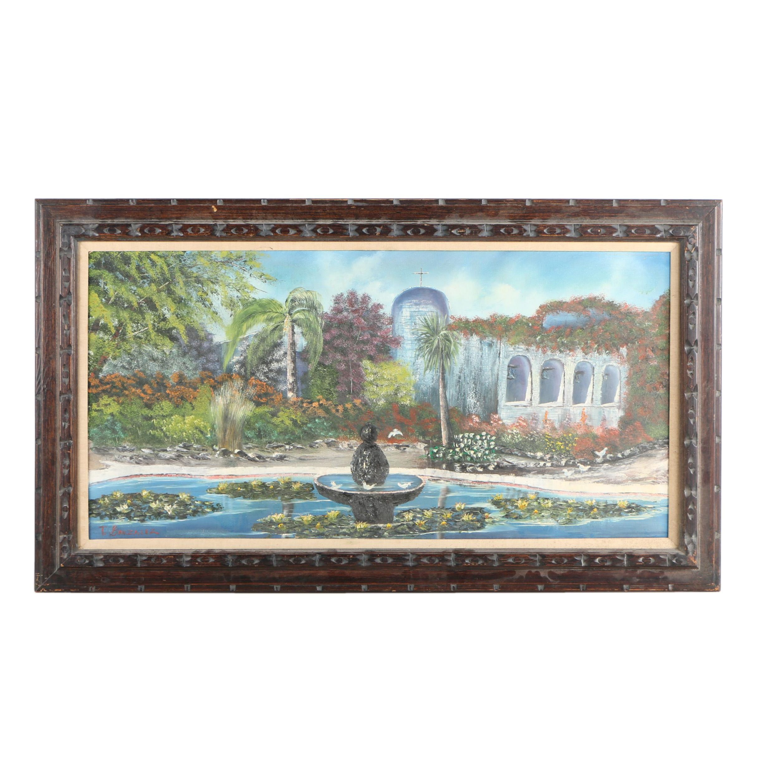 T. Gonzalez Oil Painting on Canvas Church Courtyard