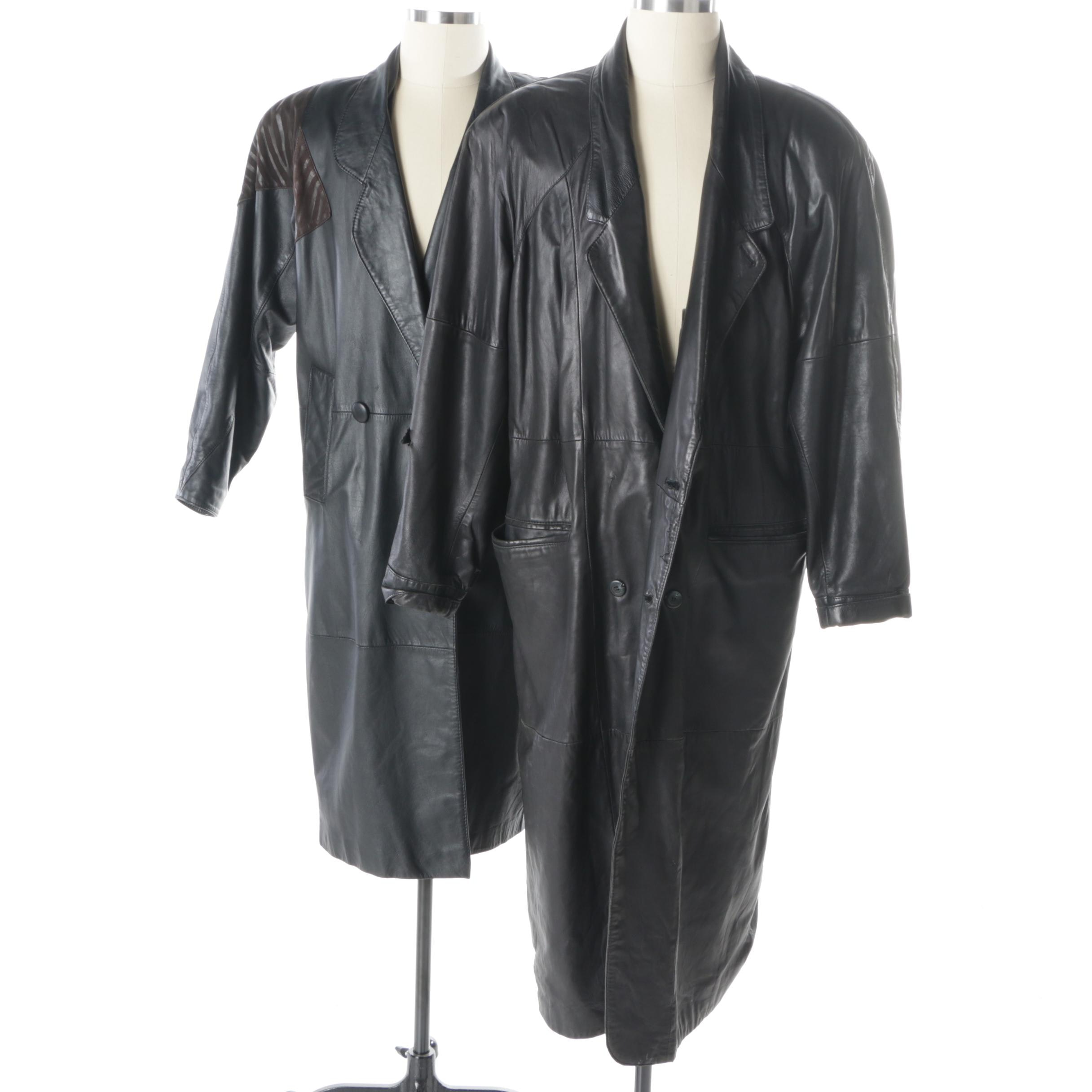 Women's and Men's Double-Breasted Black Leather Coats Including J. Walden