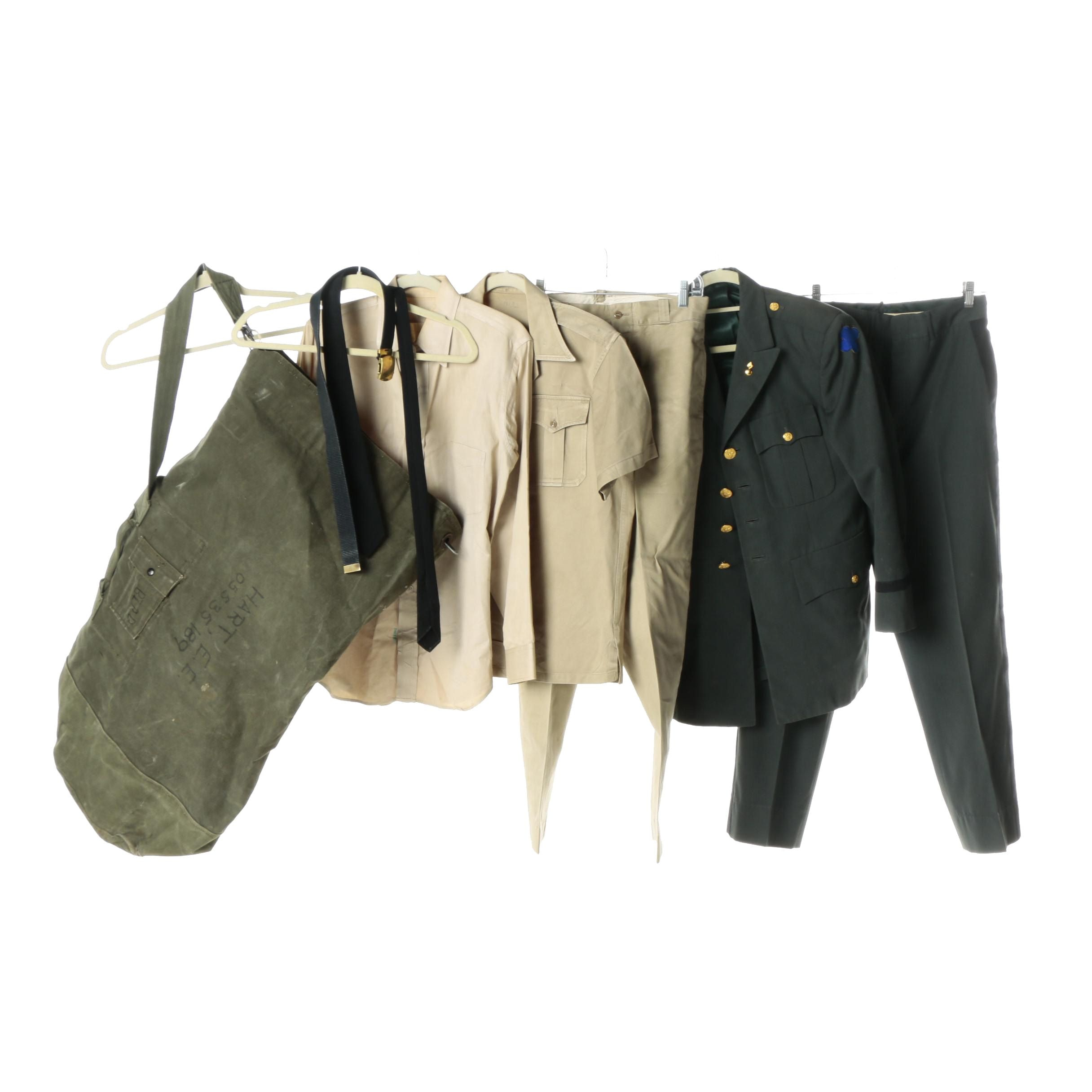 US Army Uniforms with Duffel Bag
