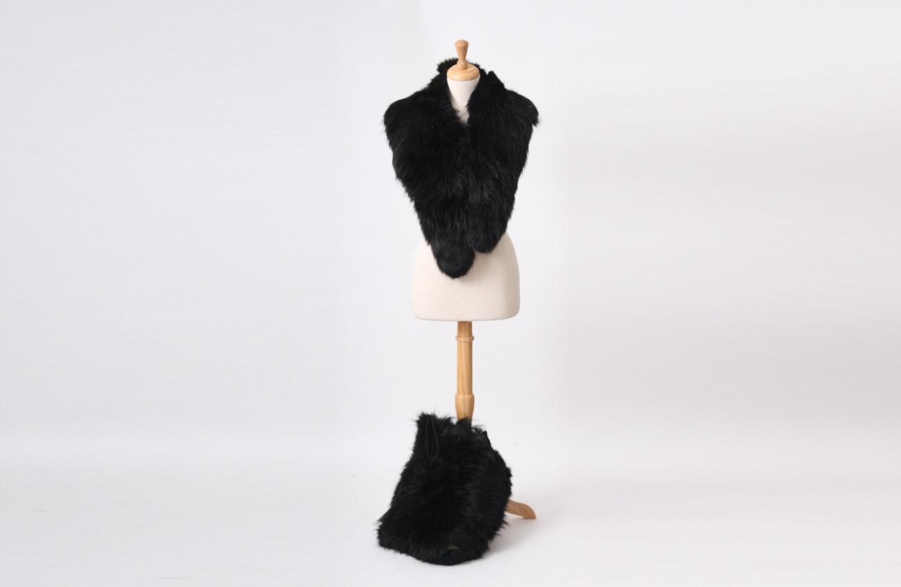 Vintage Black Skunk Fur Stole and Muff