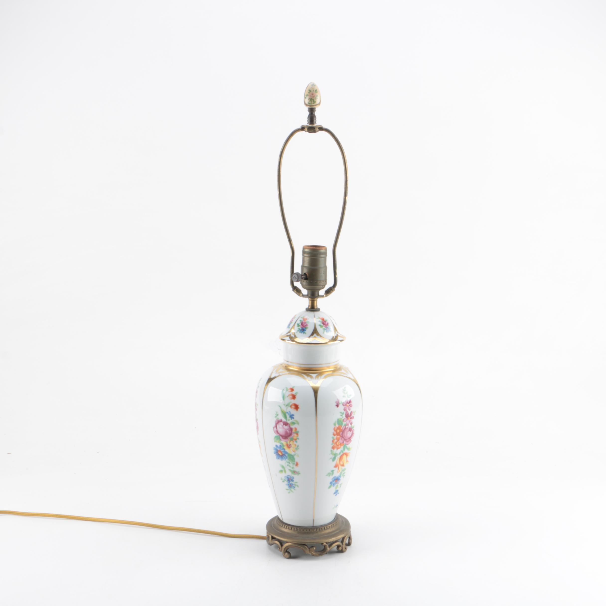 Ceramic Floral Motif Table Lamp
