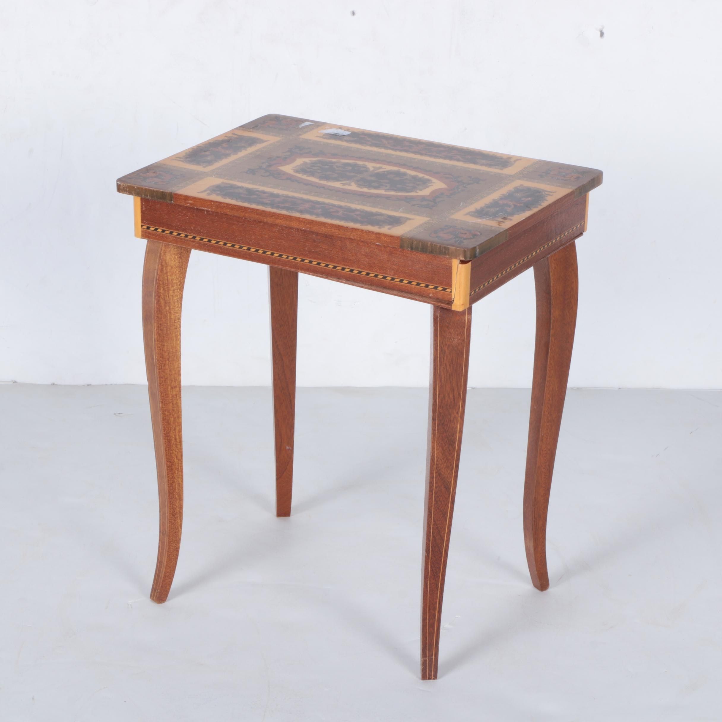 Vintage Inlaid Mahogany Reuge Jewelry Box Table