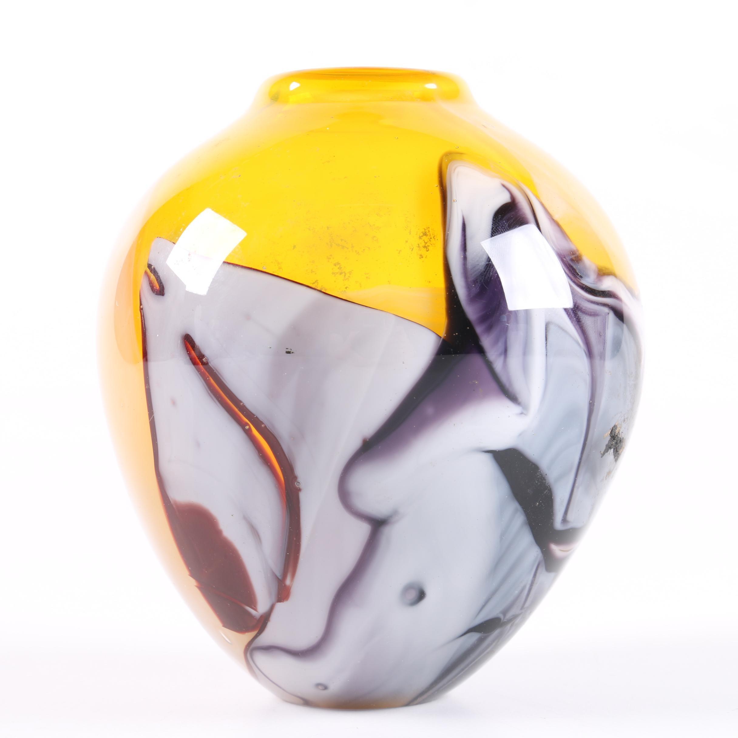 Swan Art Glass Vase