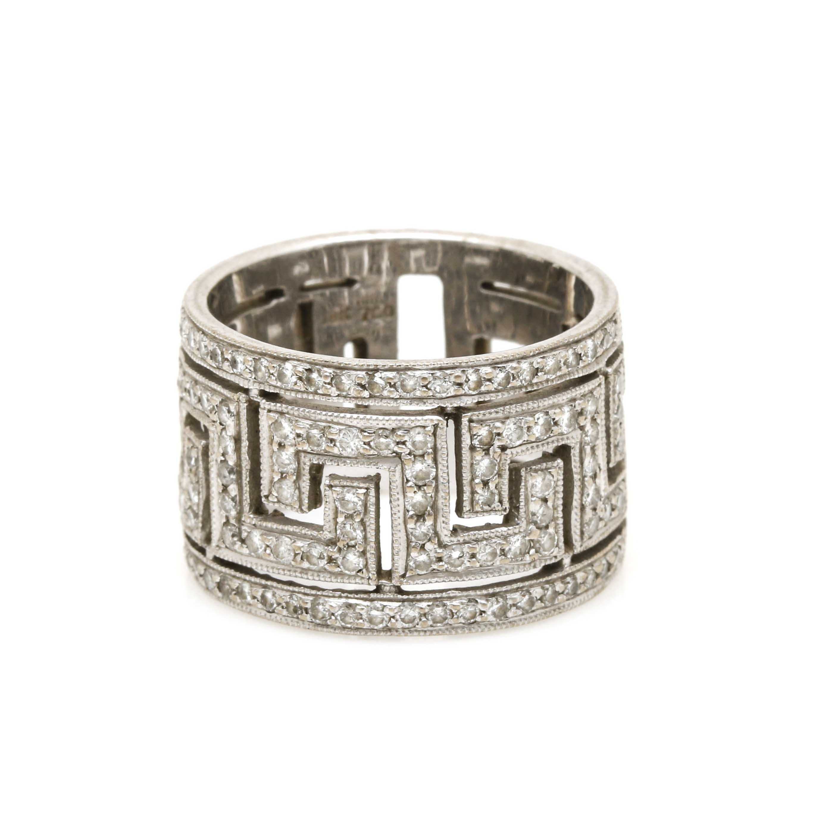 18K White Gold Diamond Greek Key Ring Band