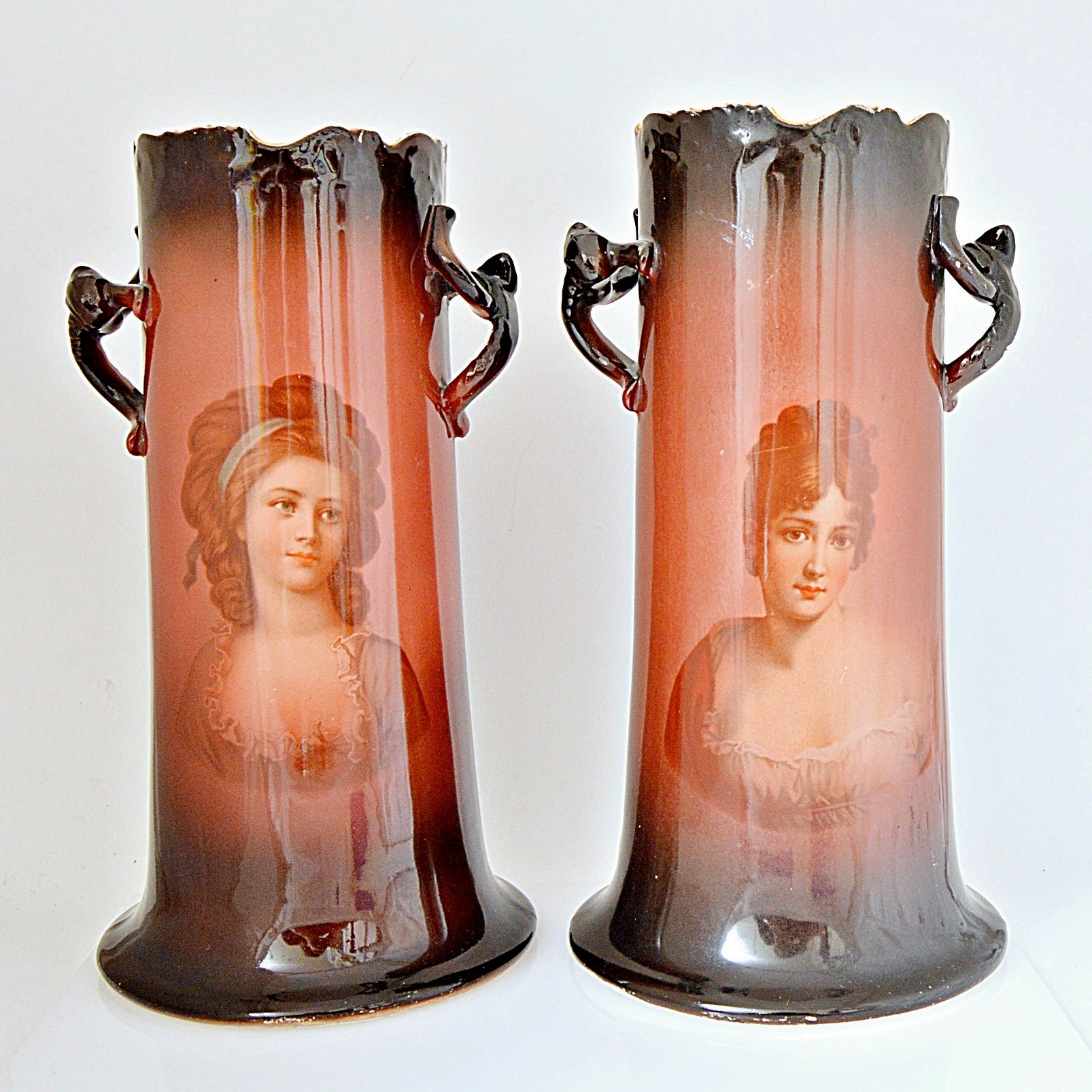 "Antique Warwick ""Ioga"" China Portrait Vases"