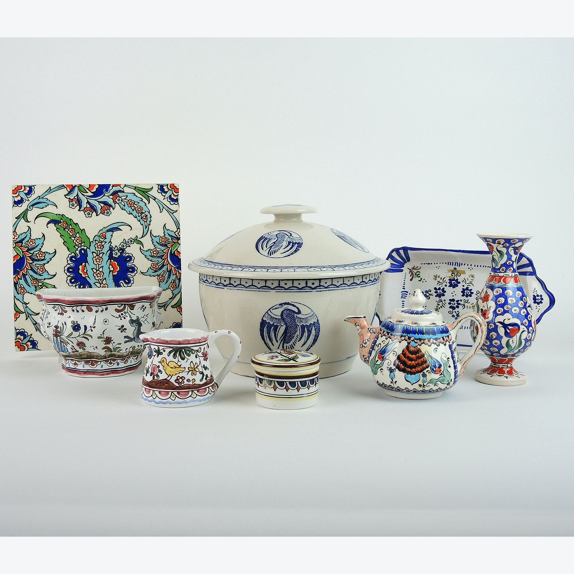 Hand-Painted Portuguese and Turkish Serving Pieces