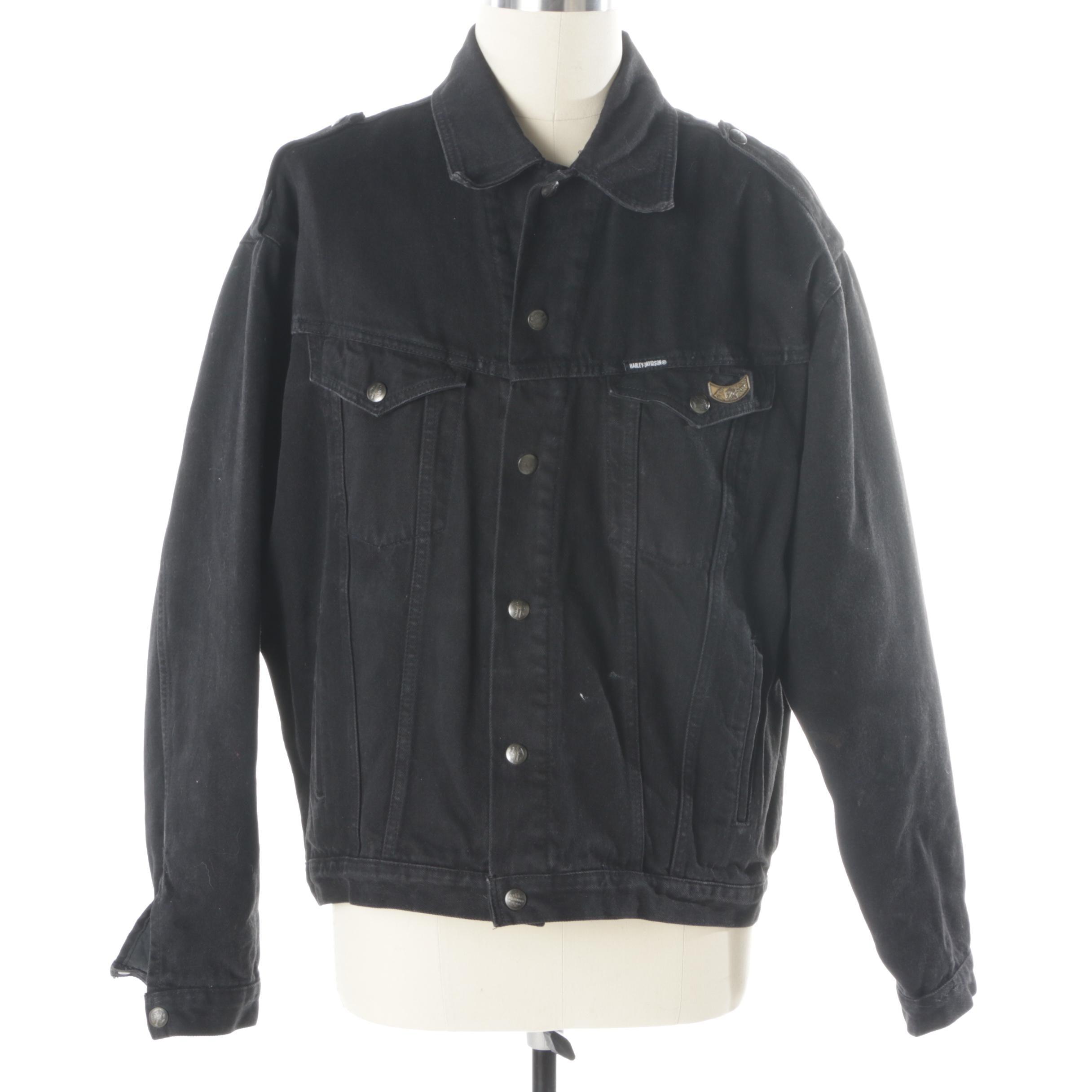 Men's Biker Blues Harley-Davidson Black Denim Jacket