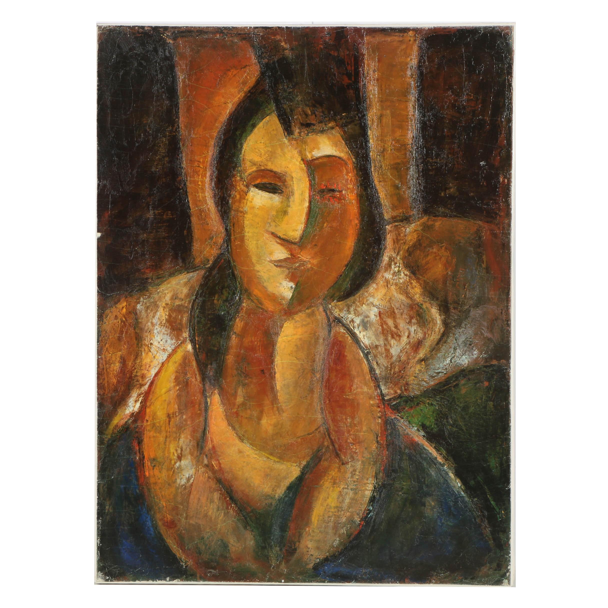 "RetracOffset Lithograph on Canvas ""Portrait of a Roman Woman"" After Bob Guccione"