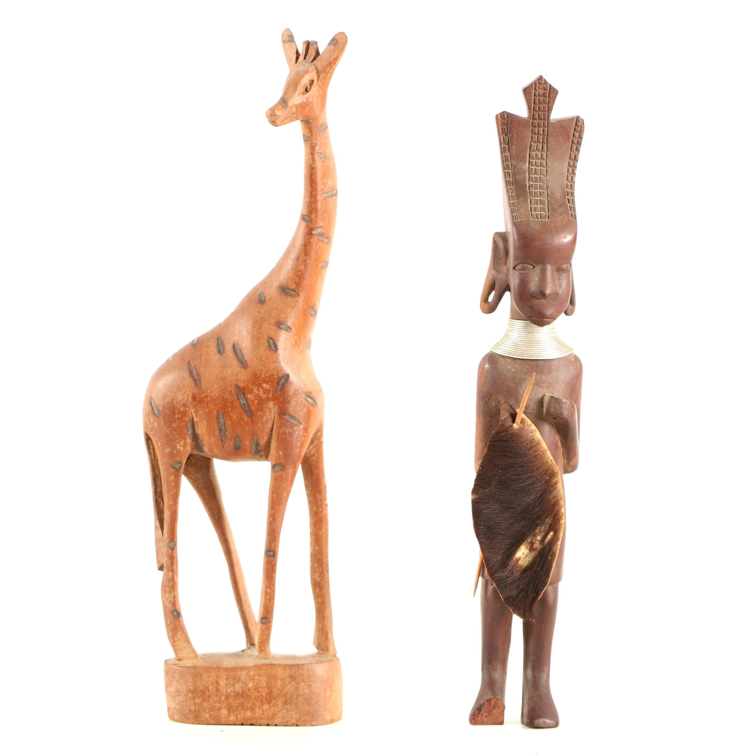 Carved Wood Sculptures of Giraffe and Kenyan Style Figure