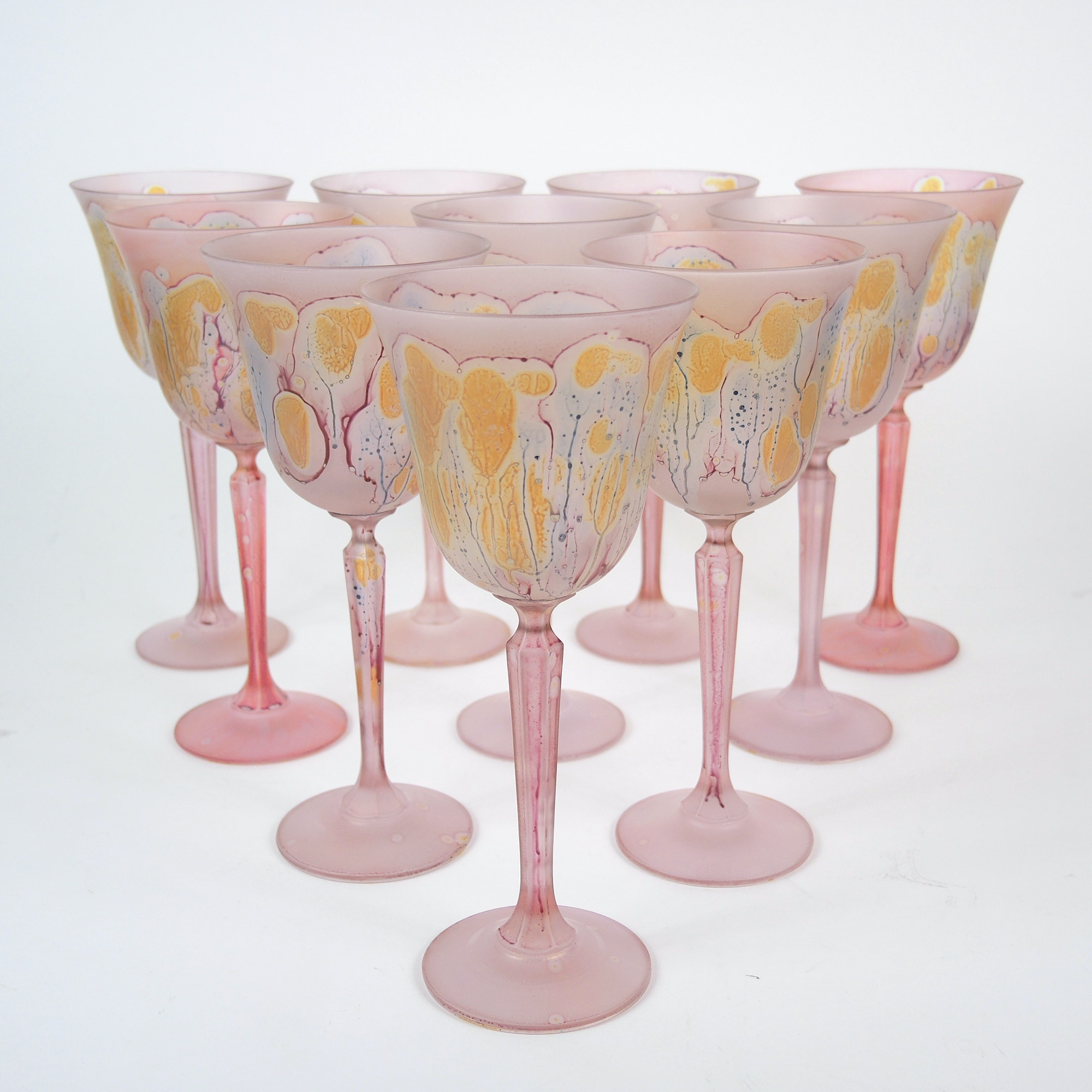 Hand Painted Jerusalem Glass Goblets By Ilanit