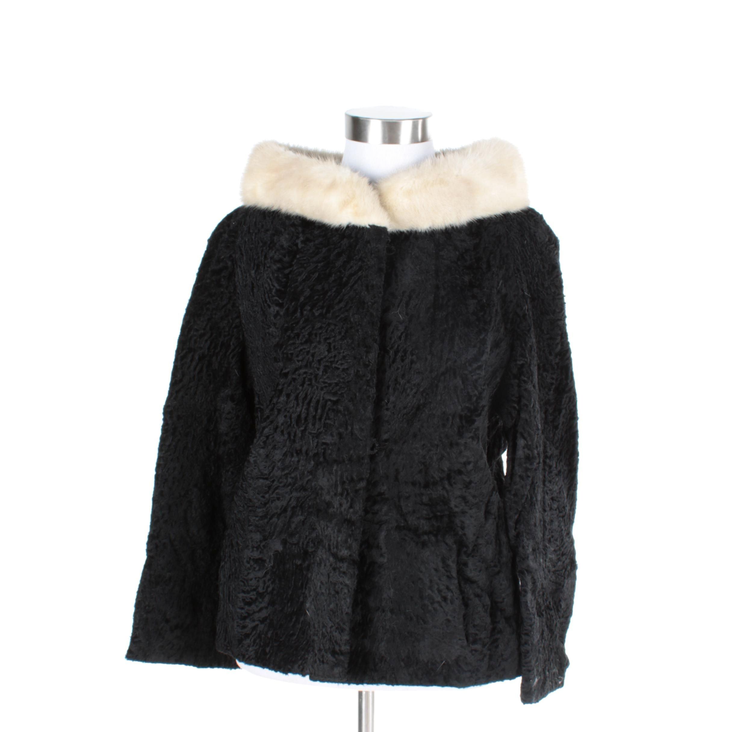 Women's Persian Lamb Fur Coat with Mink Collar