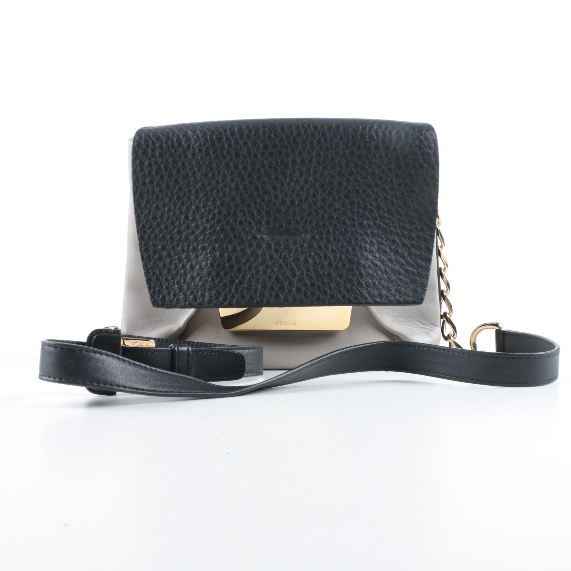 Furla Black and Grey Leather Shoulder Bag