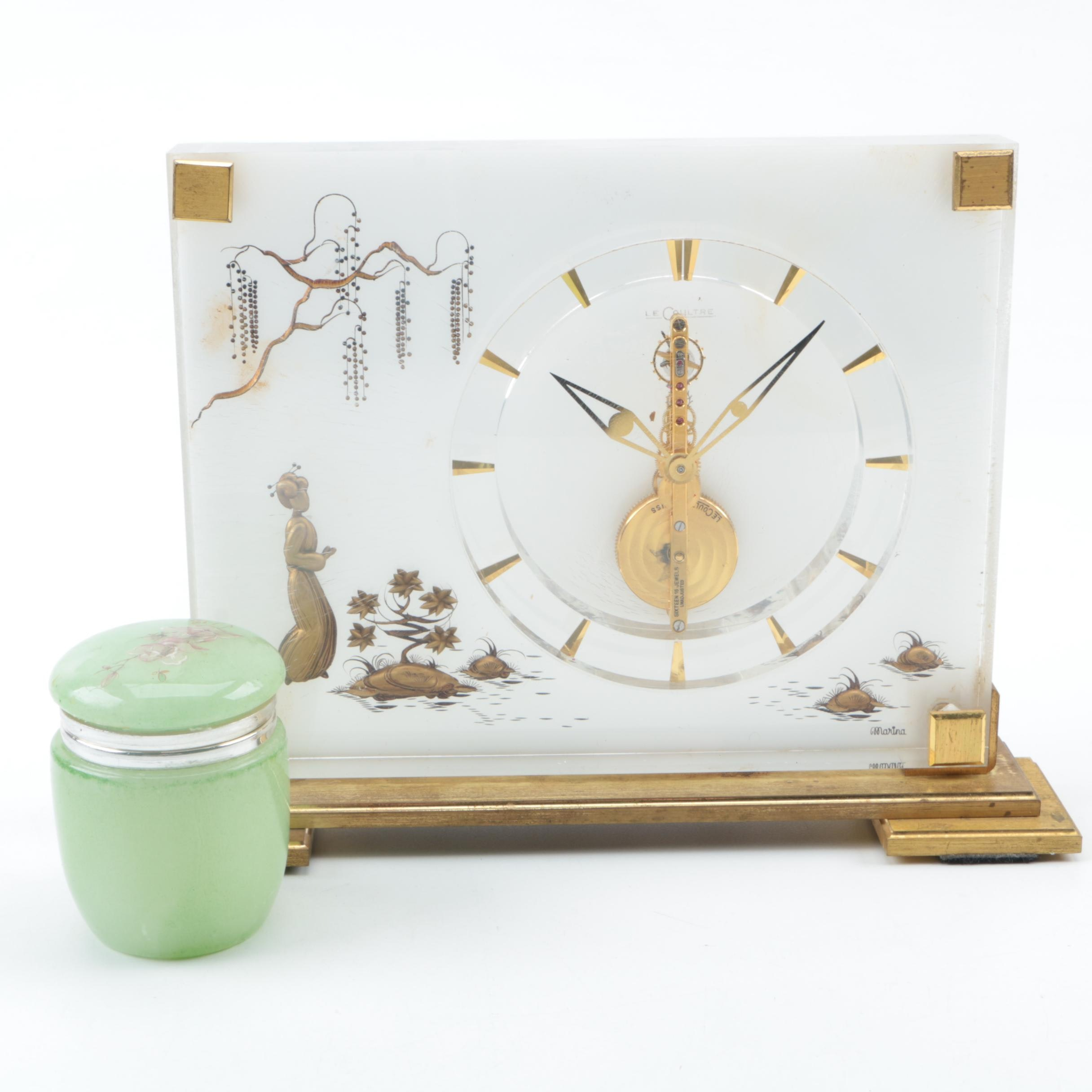 Le Coultre Lucite Marina Clock and Alabaster Canister