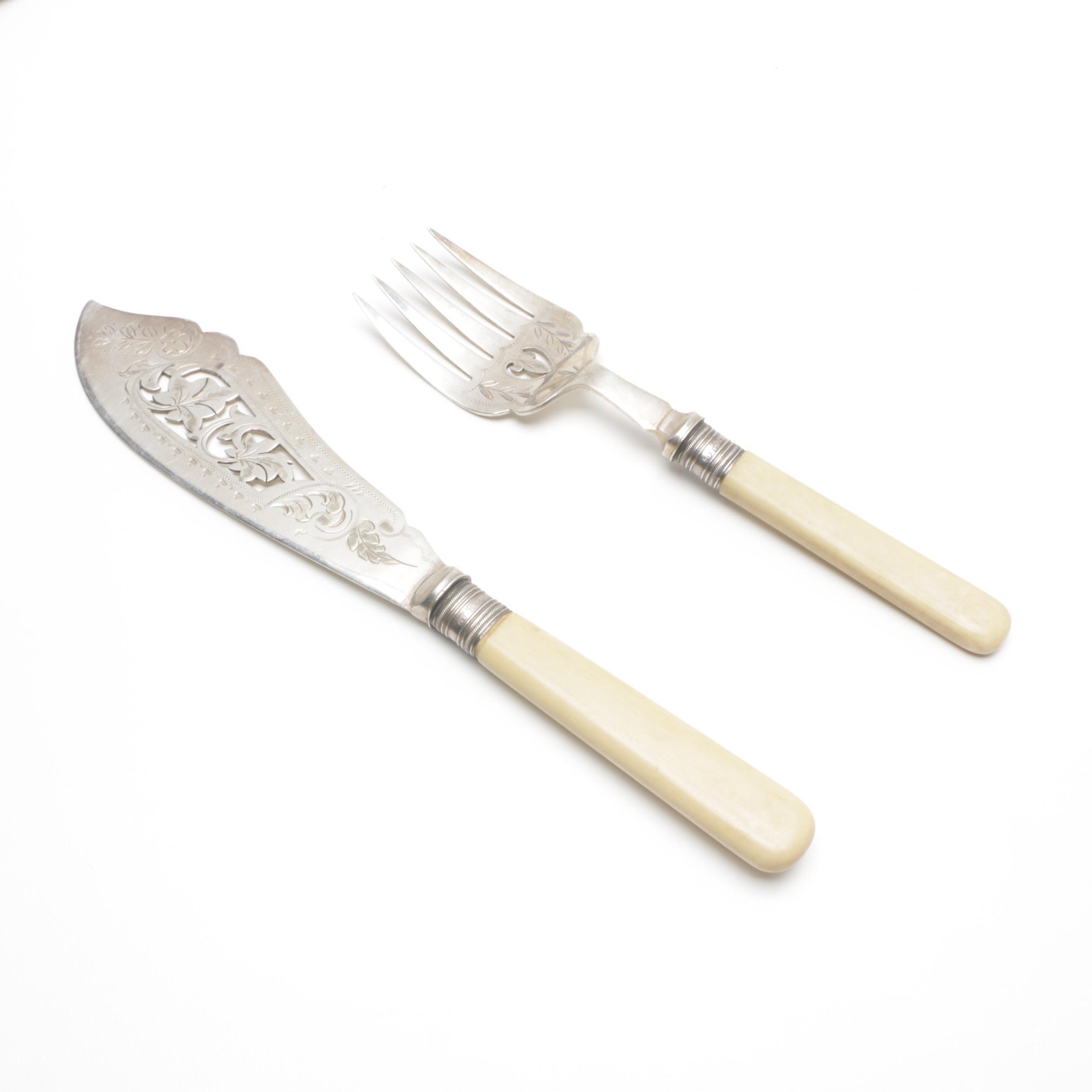 Vintage British Sterling Silver Bolstered and Celluloid Handled Serving Set