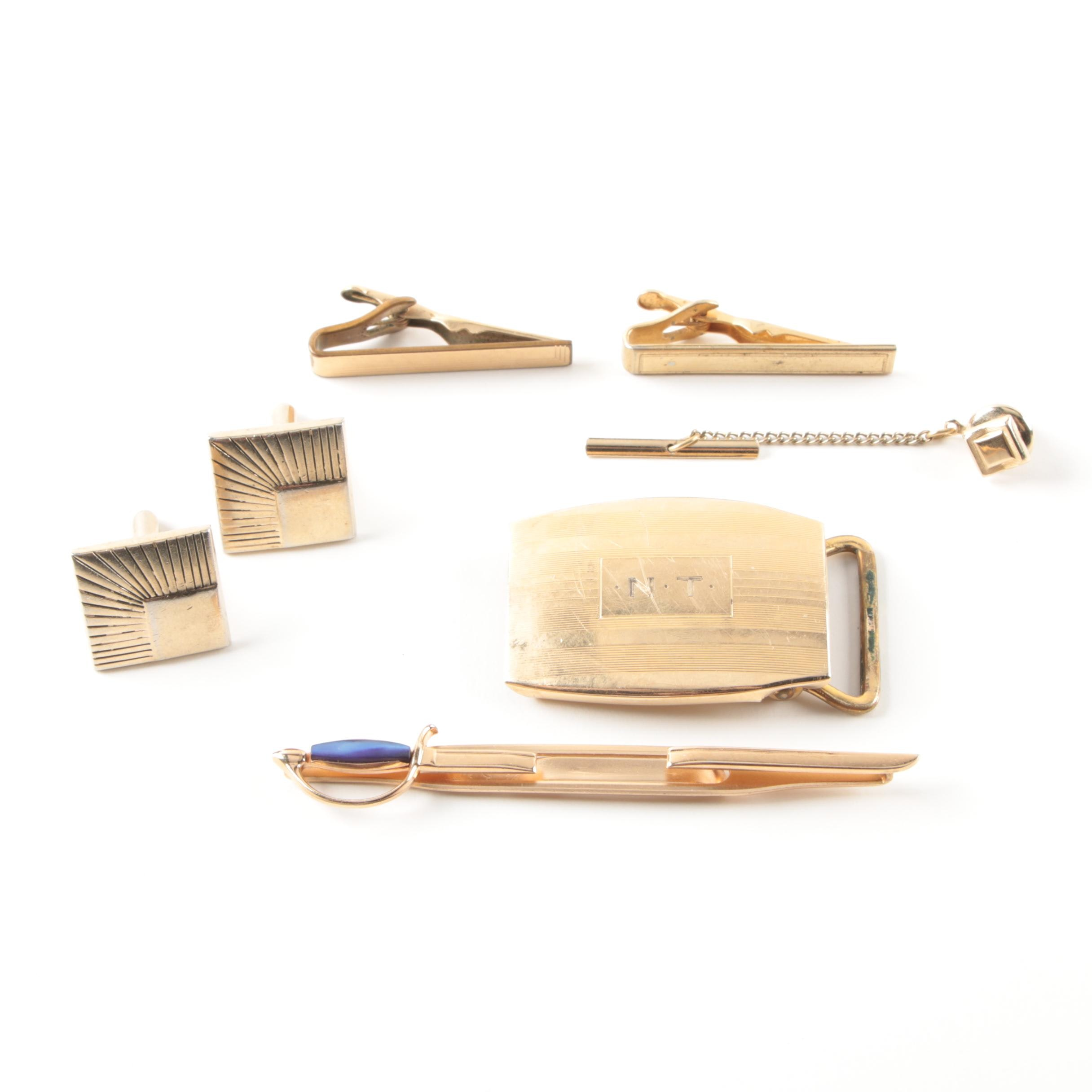 Assortment of Jewelry Including Cufflinks and Swank