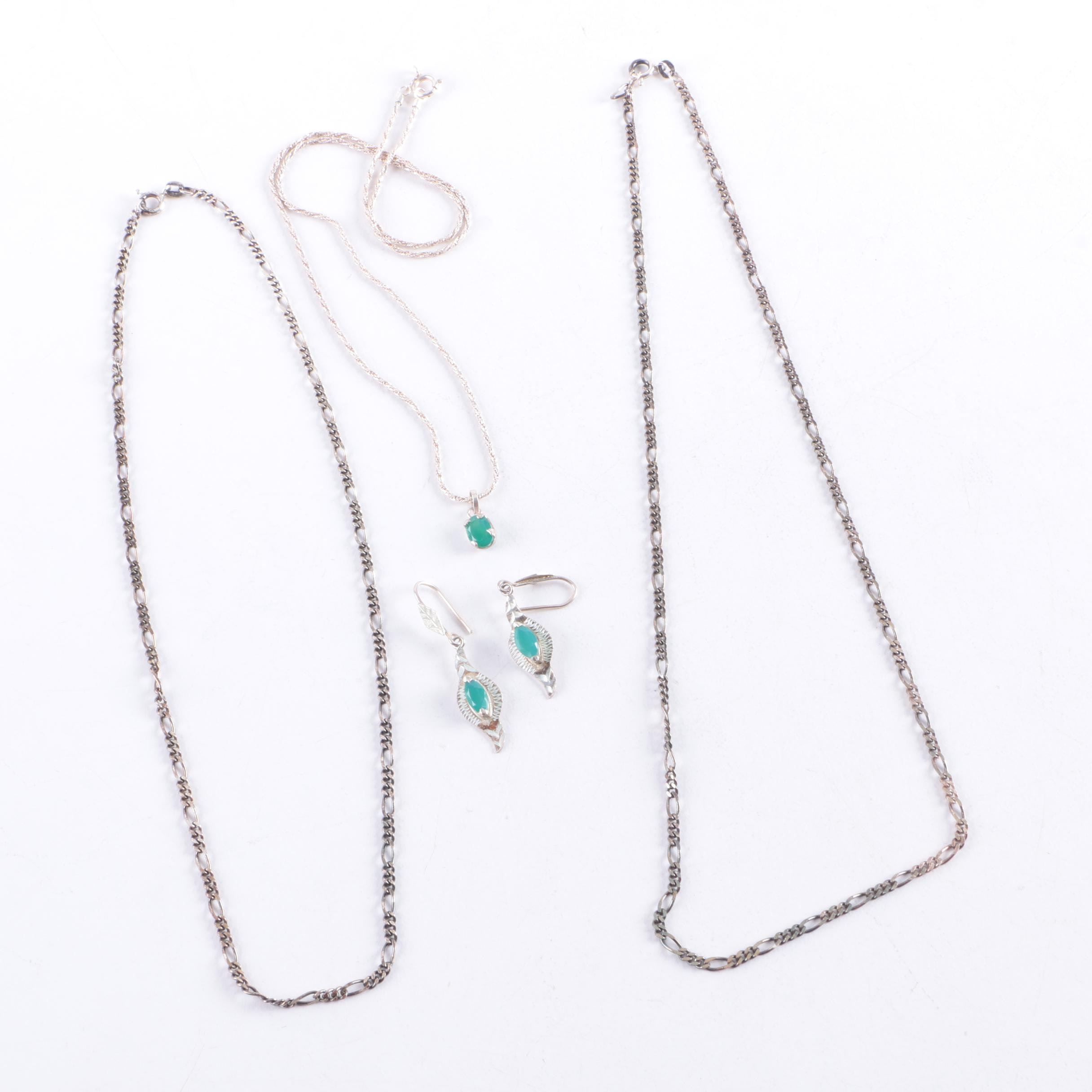 Sterling Silver Necklaces and Earrings Including Chalcedony