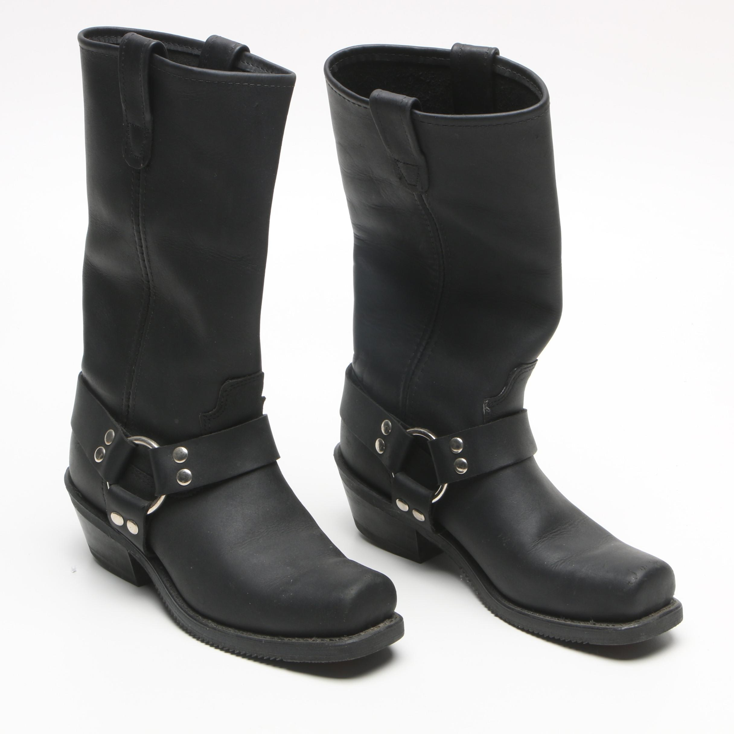 Women's Double H Black Leather Harness Boots