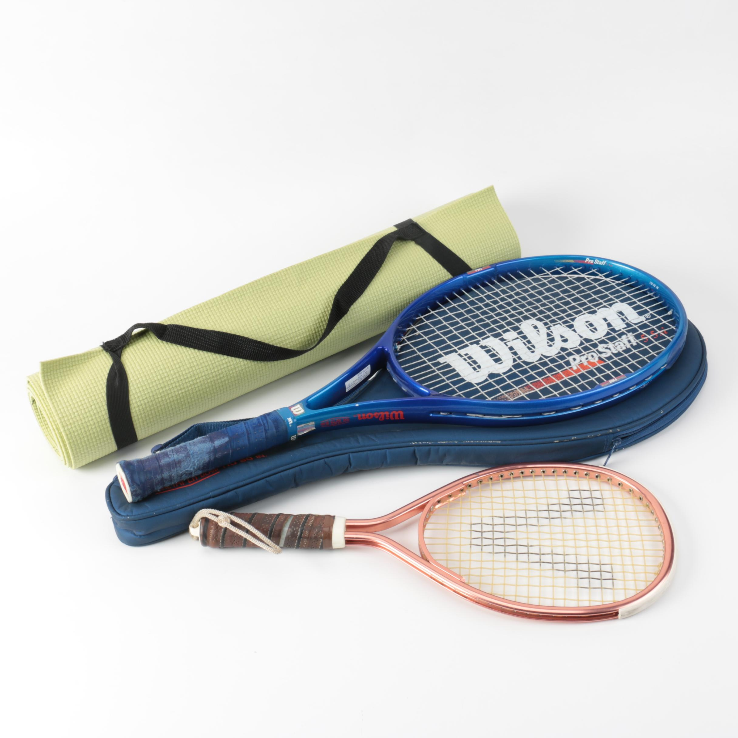 Yoga Mat, Tennis Racket And Aluminum Racquetball Racket