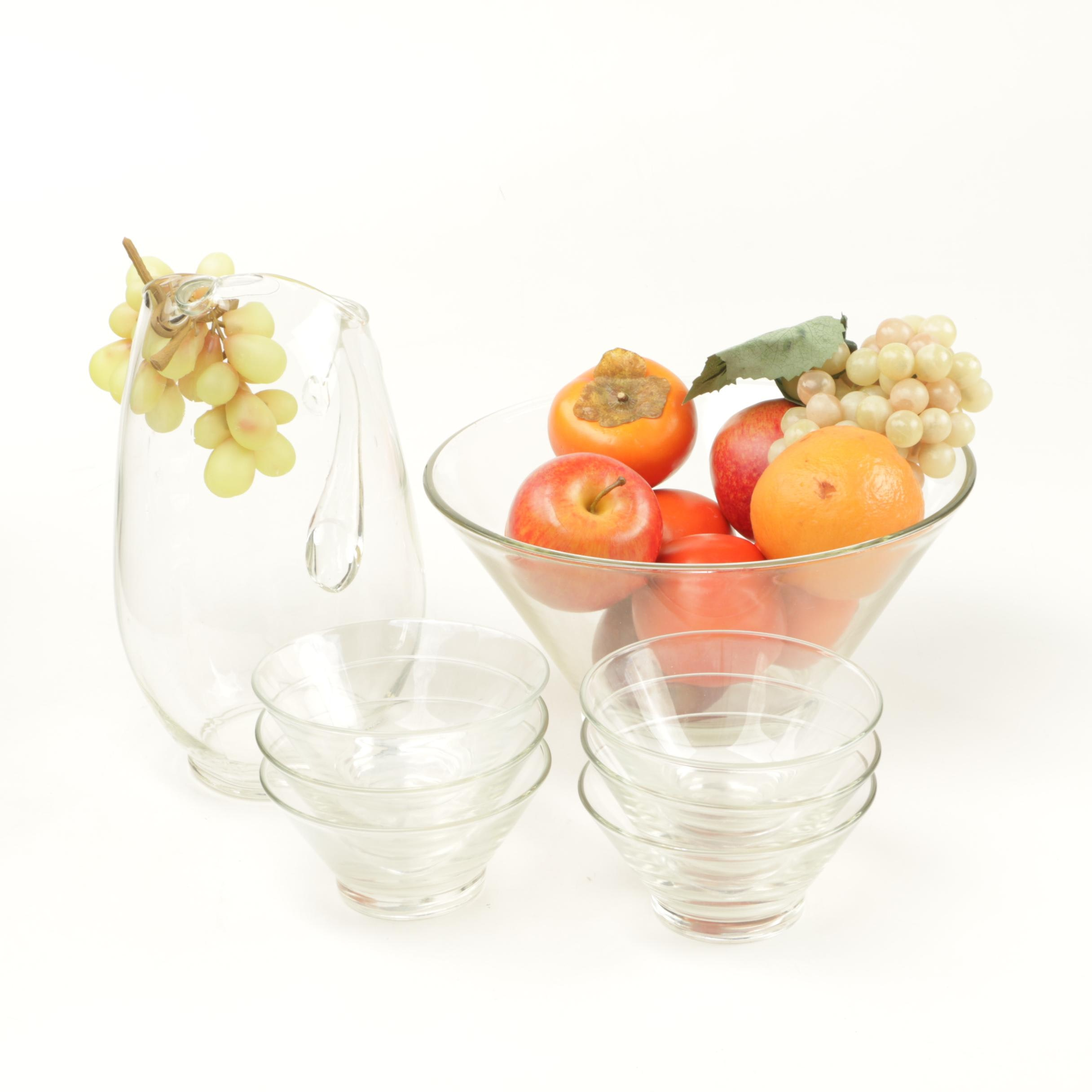 Glass Tableware and Decorative Faux Fruit